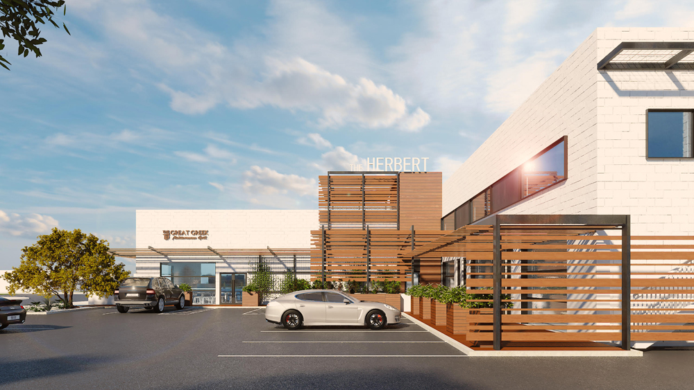Rendering of The Herbert in the Arts District to be a future home The Great Greek Mediterranean Grill.