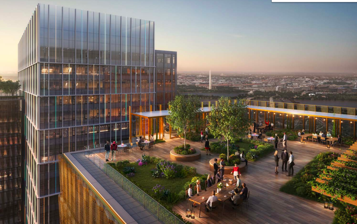 A rendering of the rooftop of a planned office building, across from another office building. The rooftop has a deck filled with people and greenery.