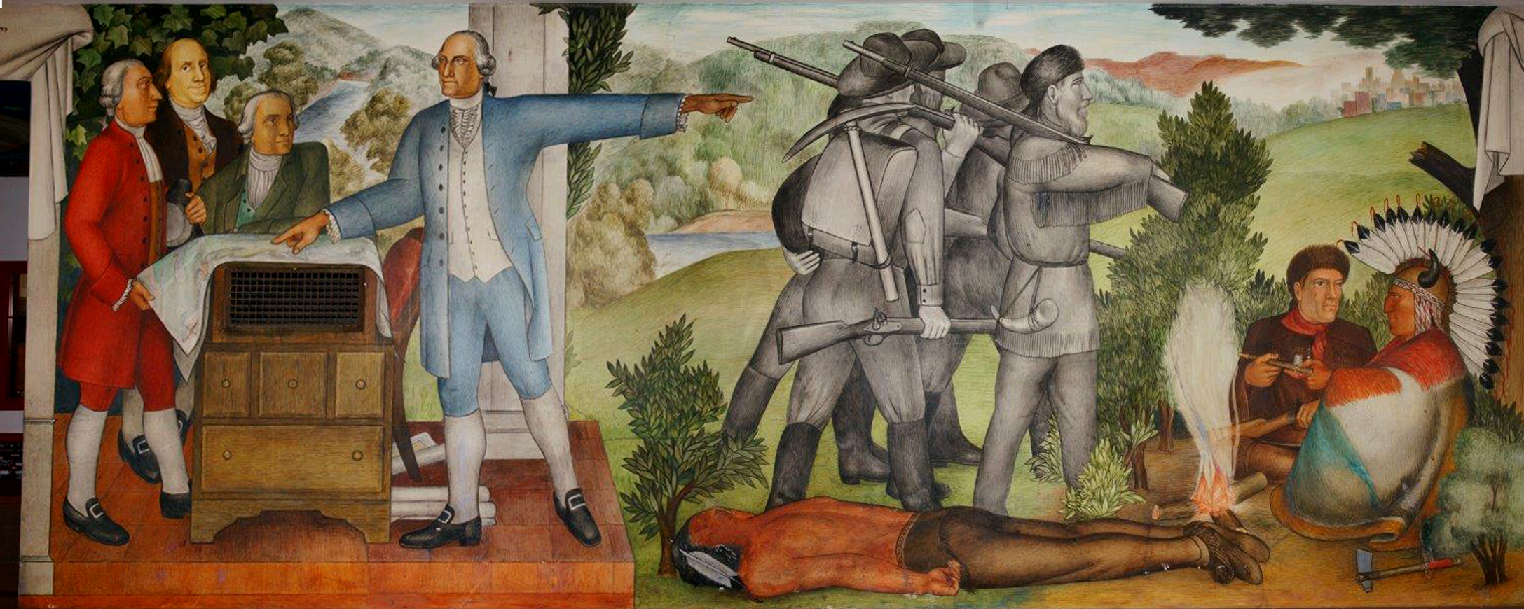 A painting of George Washington depicting gray-toned figures of soldiers who are marching into the wilderness with guns over their shoulder, stepping over the body of a dead Native American man.