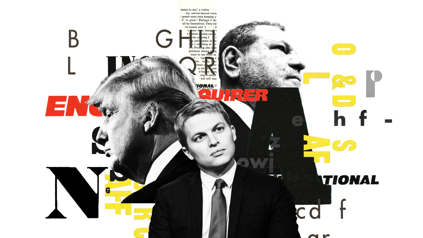 An illustration featuring President Donald Trump, Ronan Farrow, and Harvey Weinstein.