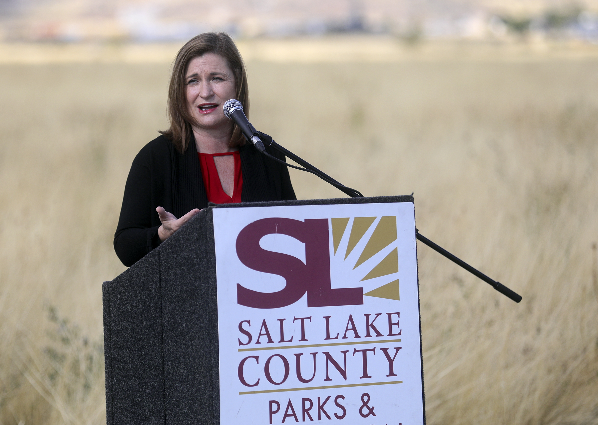 Salt Lake County Mayor Jenny Wilson speaks at a groundbreaking ceremony for a new park at 4042 S. 7200 West in Magna on Wednesday, Oct. 2, 2019. The park will feature a multipurpose field, playground, splash pad, walking paths, pavilions and restrooms.