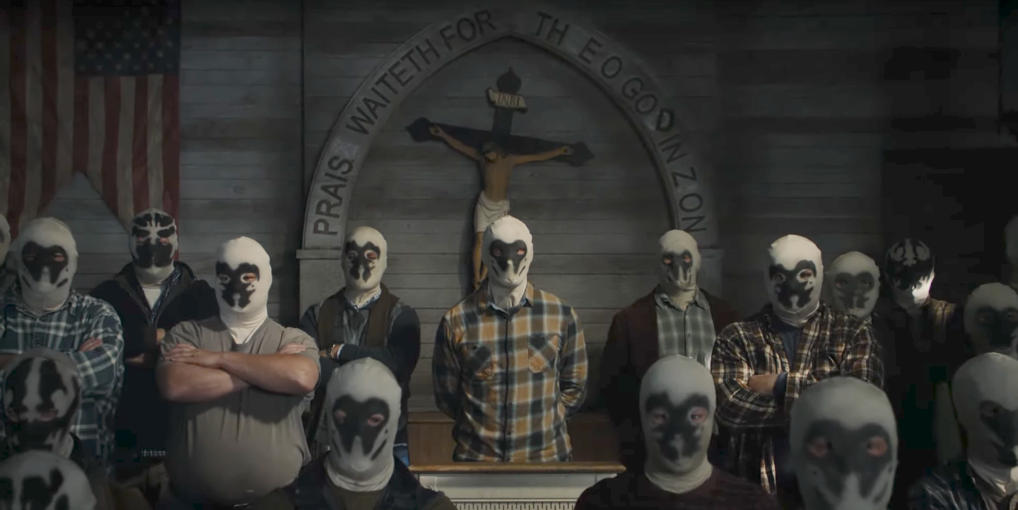 A Rorschach cult in Watchmen on HBO.