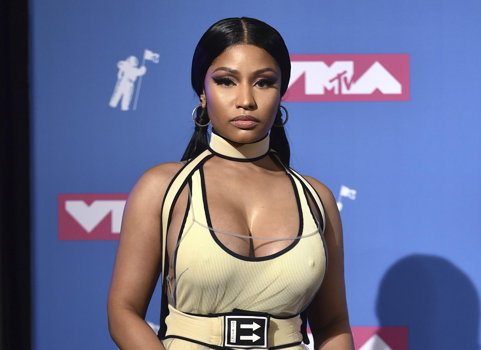 Nicki Minaj poses in the press room at the MTV Video Music Awards in New York in 2018.