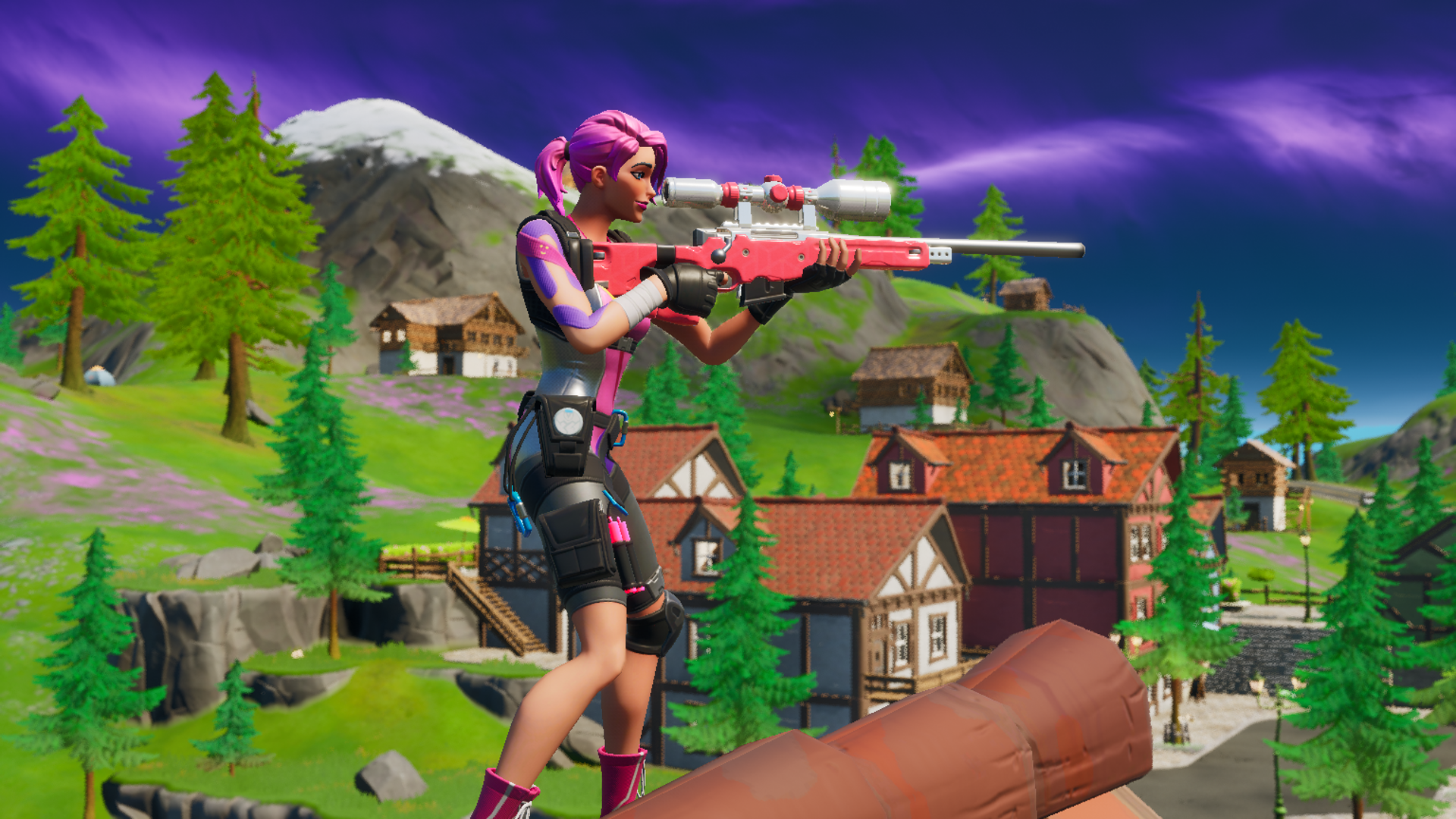 A Fortnite player using the Journey skin from Chapter 2 aims a Sniper Rifle