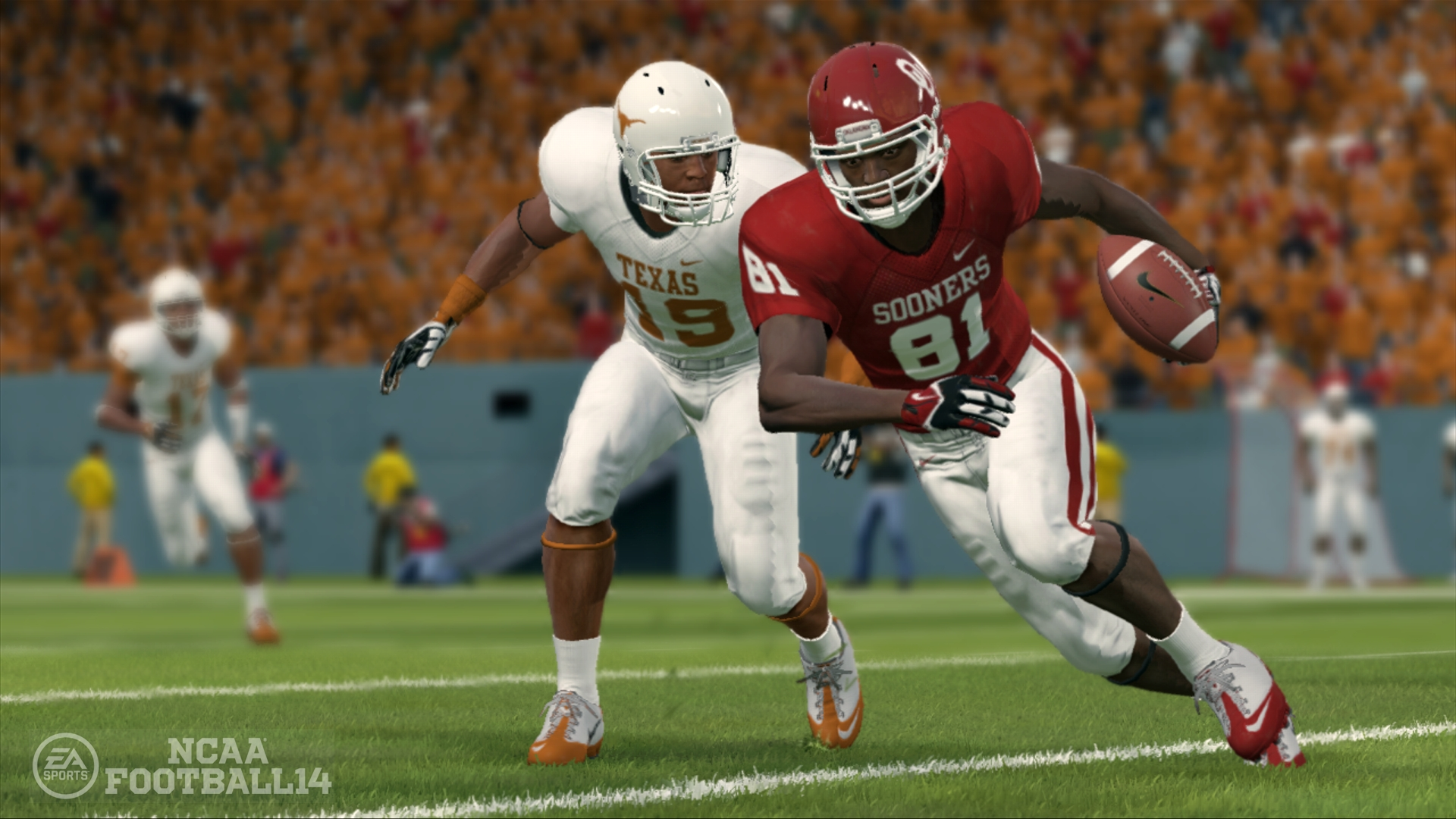 a defender for the Texas Longhorns, wearing an all-white #19 jersey, tracks an Oklahoma Sooners wide receiver carrying the ball in a crimson-and-white #81 uniform, in a screenshot from NCAA Football 14