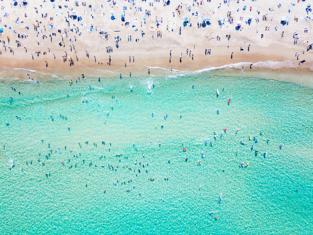 An overview of the turquoise waters of Bondi Beach