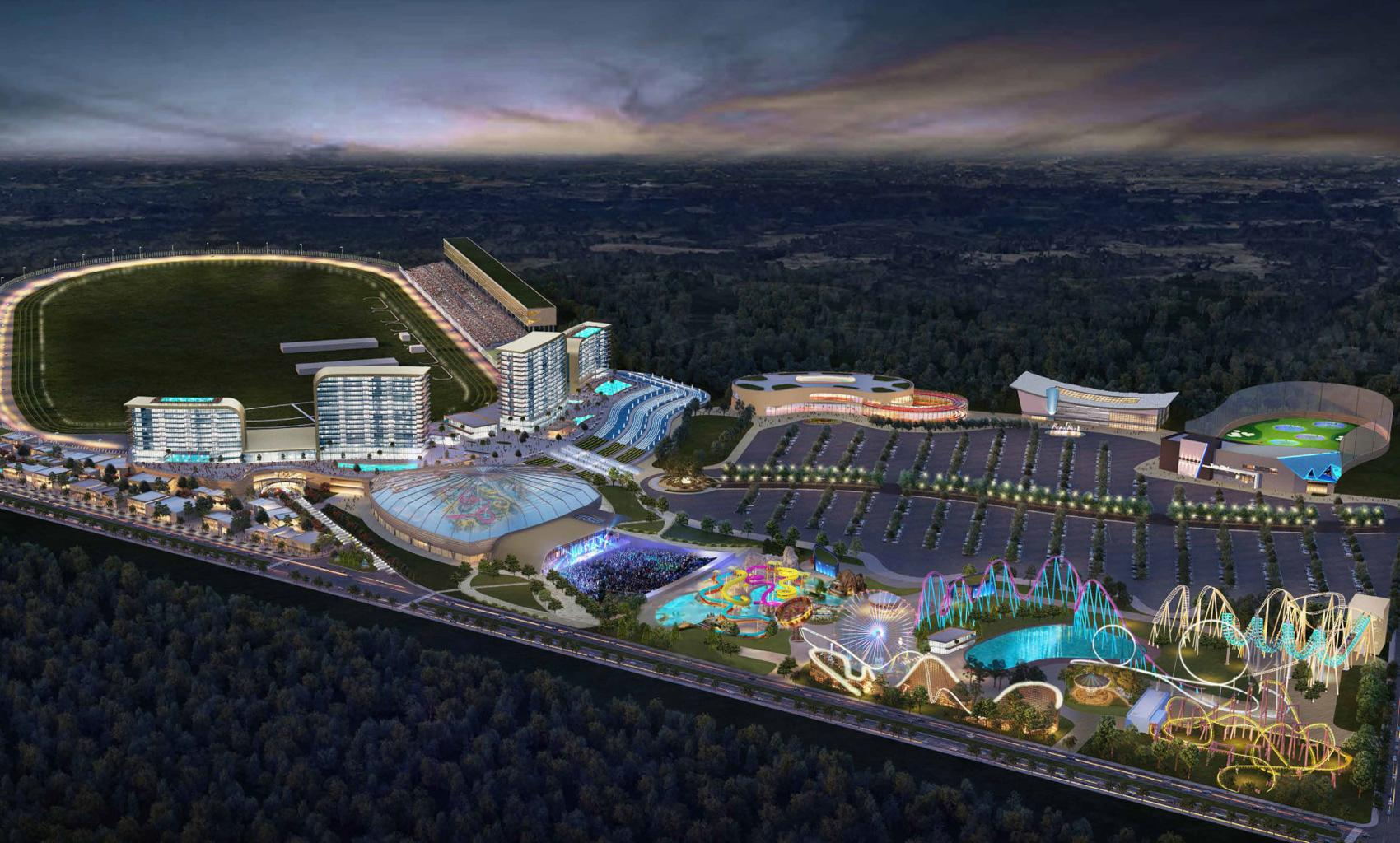 A colorful rendering of a casino resort attraction bordering the racetrack, replete with its own amusement park.