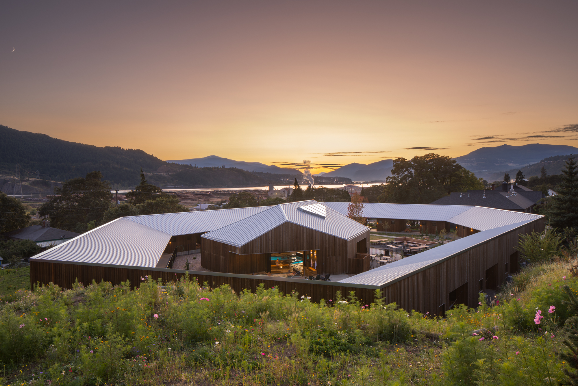 1900s schoolhouse renovated into rustic yet modern hotel