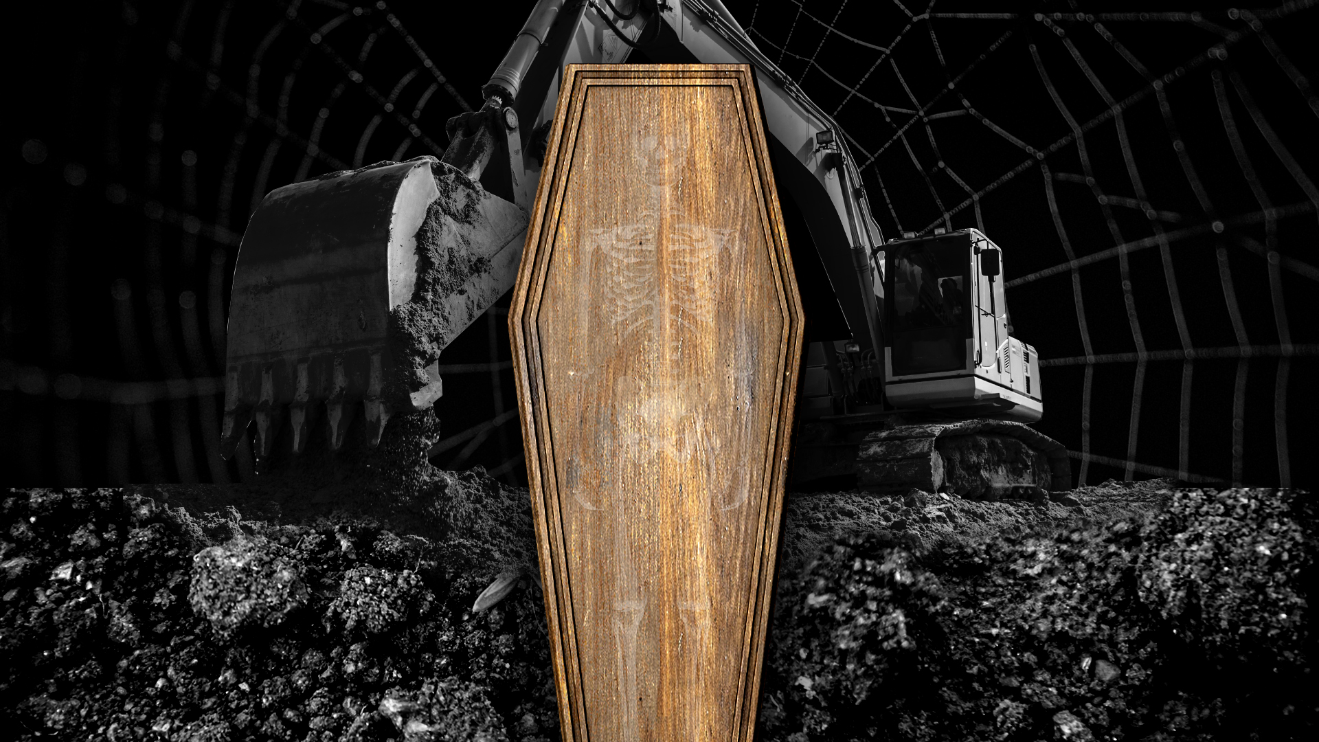 A wooden coffin surrounded by a dark scene of a backhoe digging up dirt.