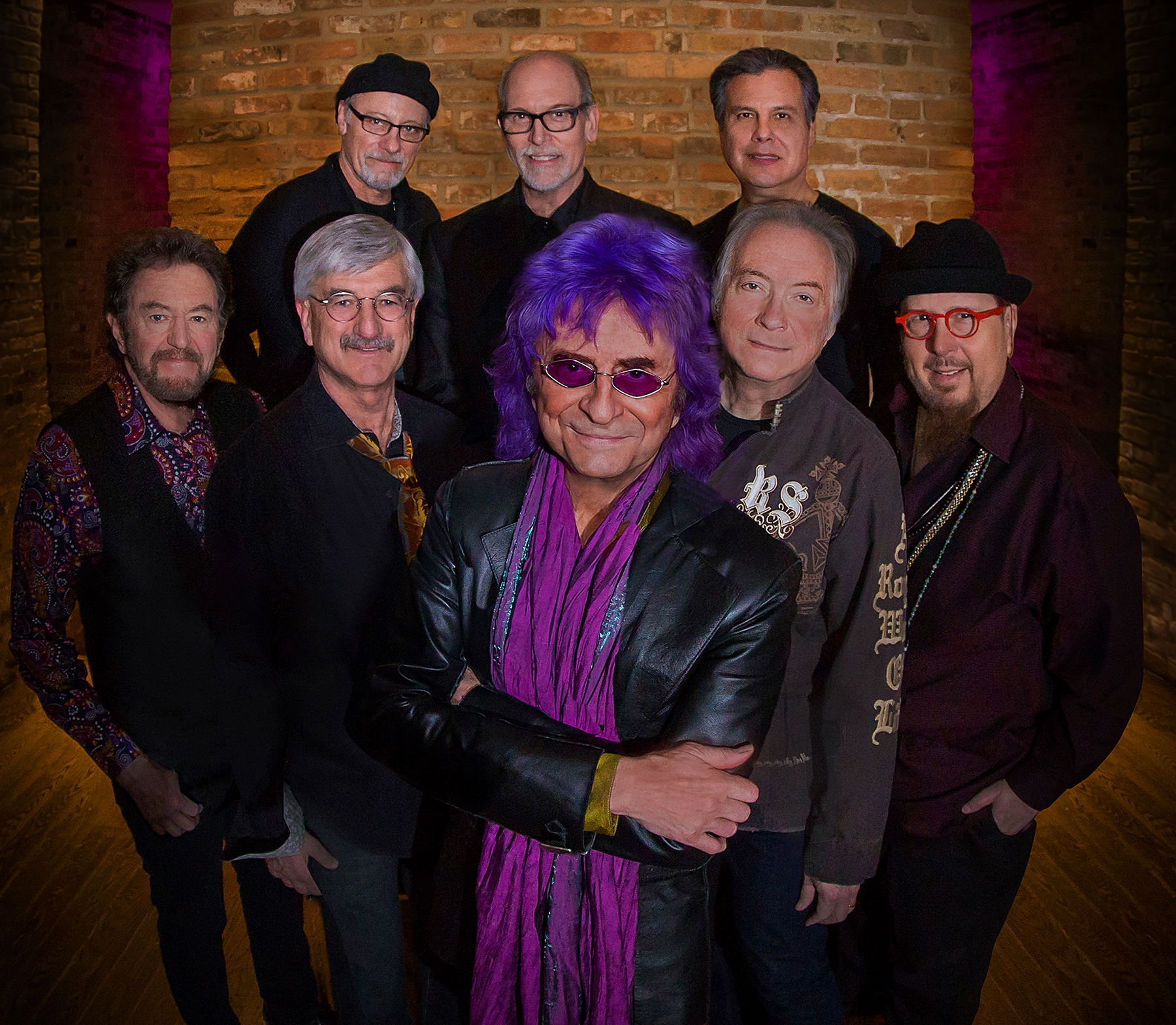 The Ides of March — (front row, from left): Mike Borch, Bob Bergland, Jim Peterik, Larry Millas and Scott May. Back row (from left): Steve Eisen, Tim Bales and Henry Salgado.