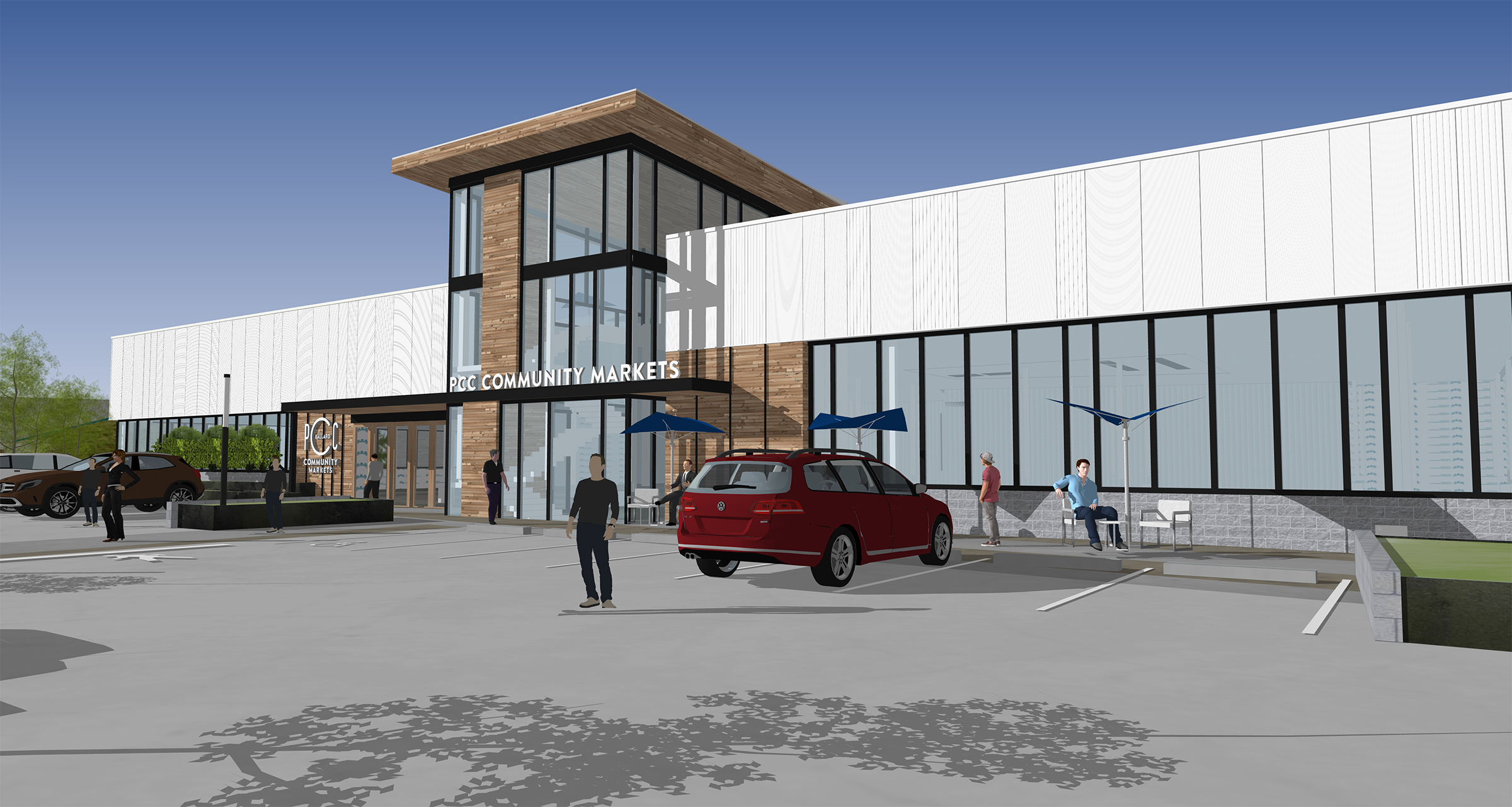 A computer rendering of Ballard's upcoming PCC Community Markets store, exterior with sign and digital people and cars milling around.