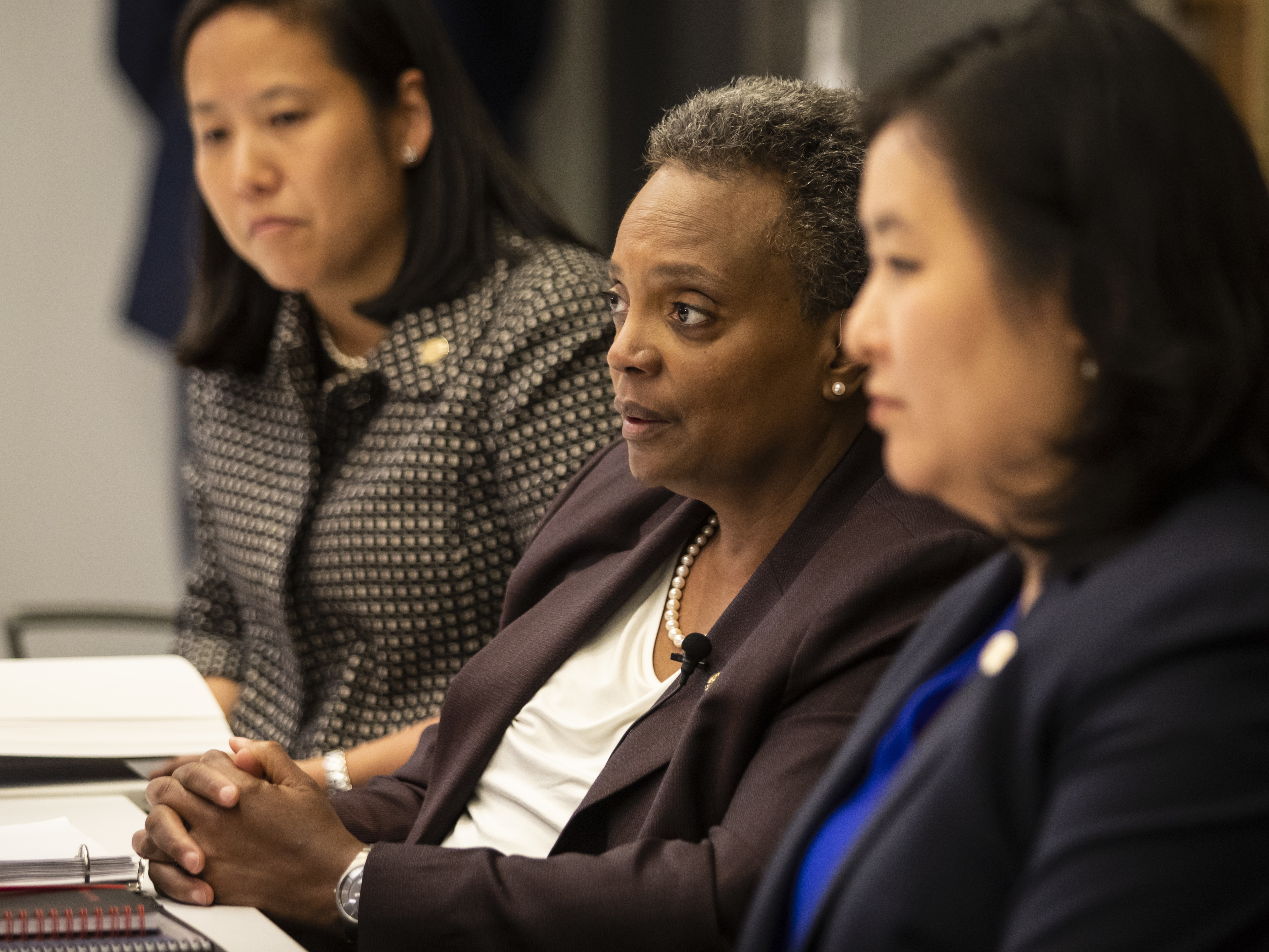 (From left) Chief Financial Officer Jennie Huang Bennett, Mayor Lori Lightfoot and Budget Director Susie Park sit down for an interview with the Chicago Sun-Times Editorial Board, hours after Lightfoot delivered her first budget address to the Chicago City Council at City Hall, Wednesday afternoon, Oct. 23, 2019.