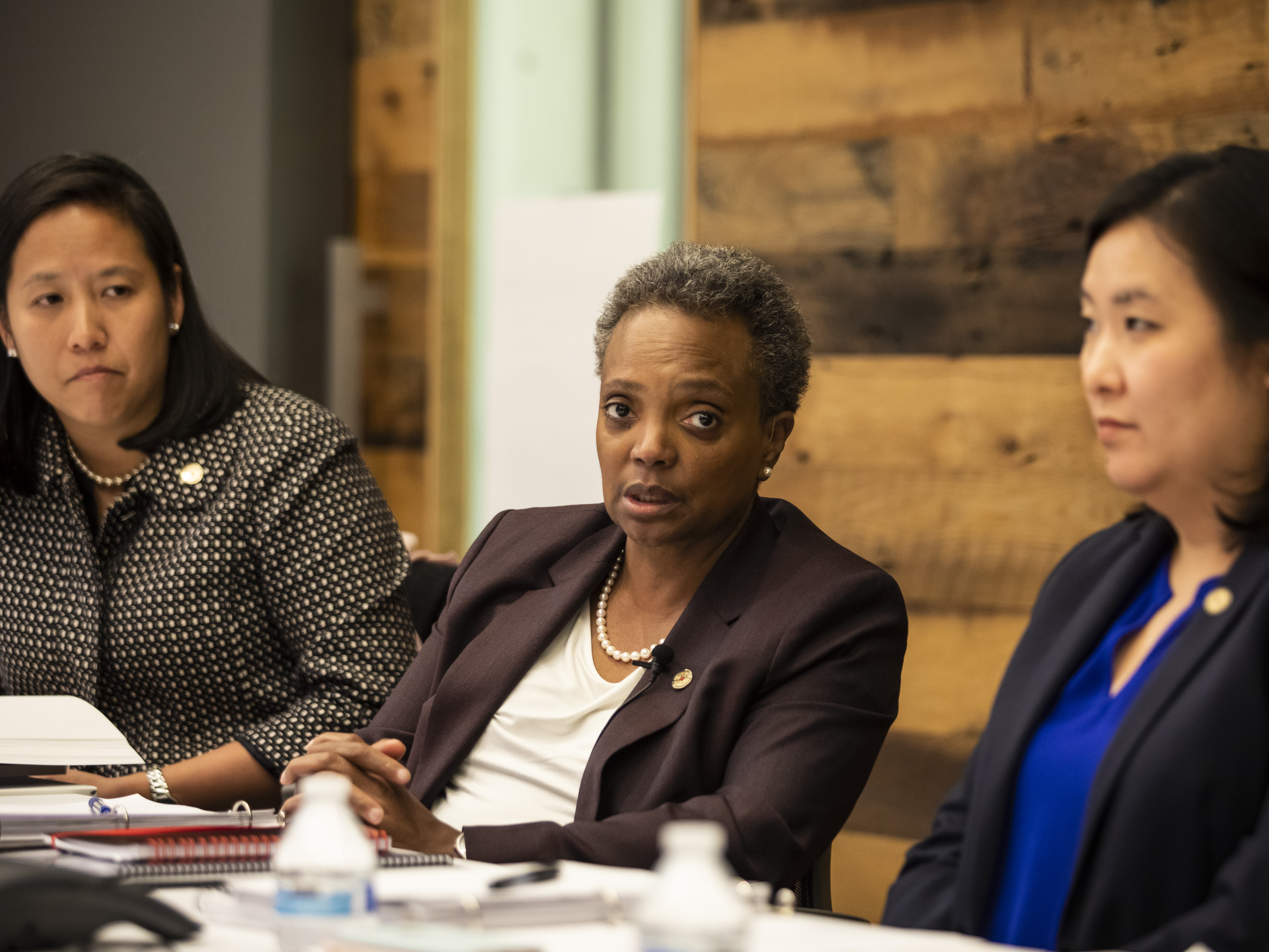 (From left) Budget Director Susie Park, Mayor Lori Lightfoot and Chief Financial Officer Jennie Huang Bennett sit down for an interview with the Chicago Sun-Times Editorial Board, hours after Lightfoot delivered her first budget address to the Chicago City Council at City Hall, Wednesday afternoon, Oct. 23, 2019. | Ashlee Rezin Garcia/Sun-Times