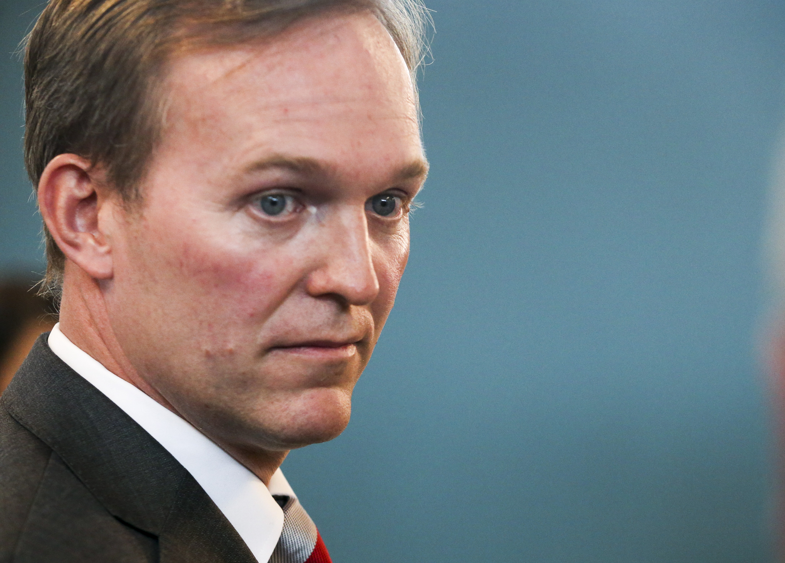 Rep. Ben McAdams listens to a reporters question about the impeachment inquiry following a town hall on aging adult and senior issues at the Midvale Senior Center in Midvale, Utah, on Friday, Oct. 4, 2019. McAdams stated he is in favor of an open inquiry but wouldn't support impeachment at the moment.