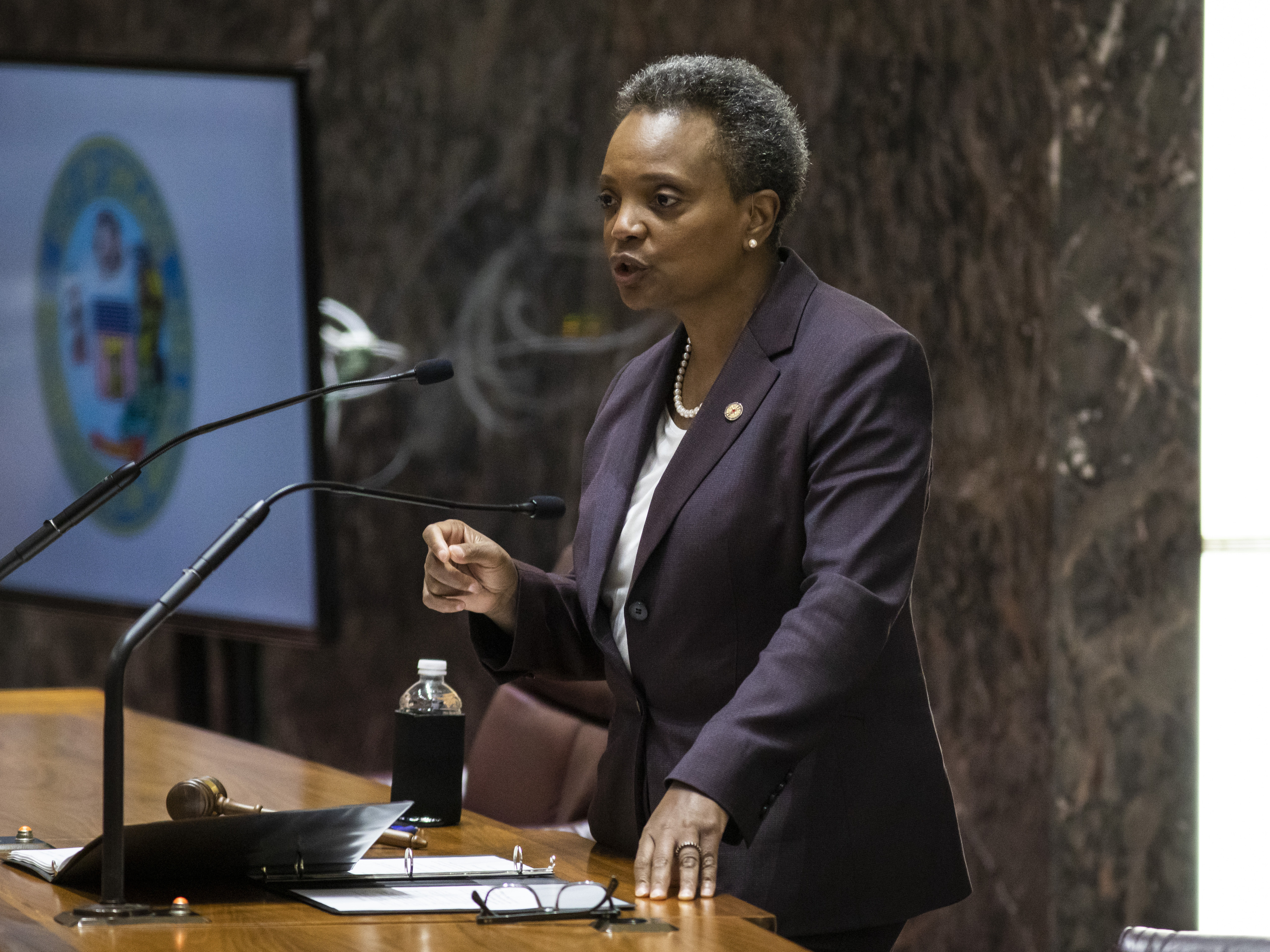 Chicago Mayor Lori Lightfoot delivers her first budget address at City Hall, Wednesday, Oct. 23, 2019.