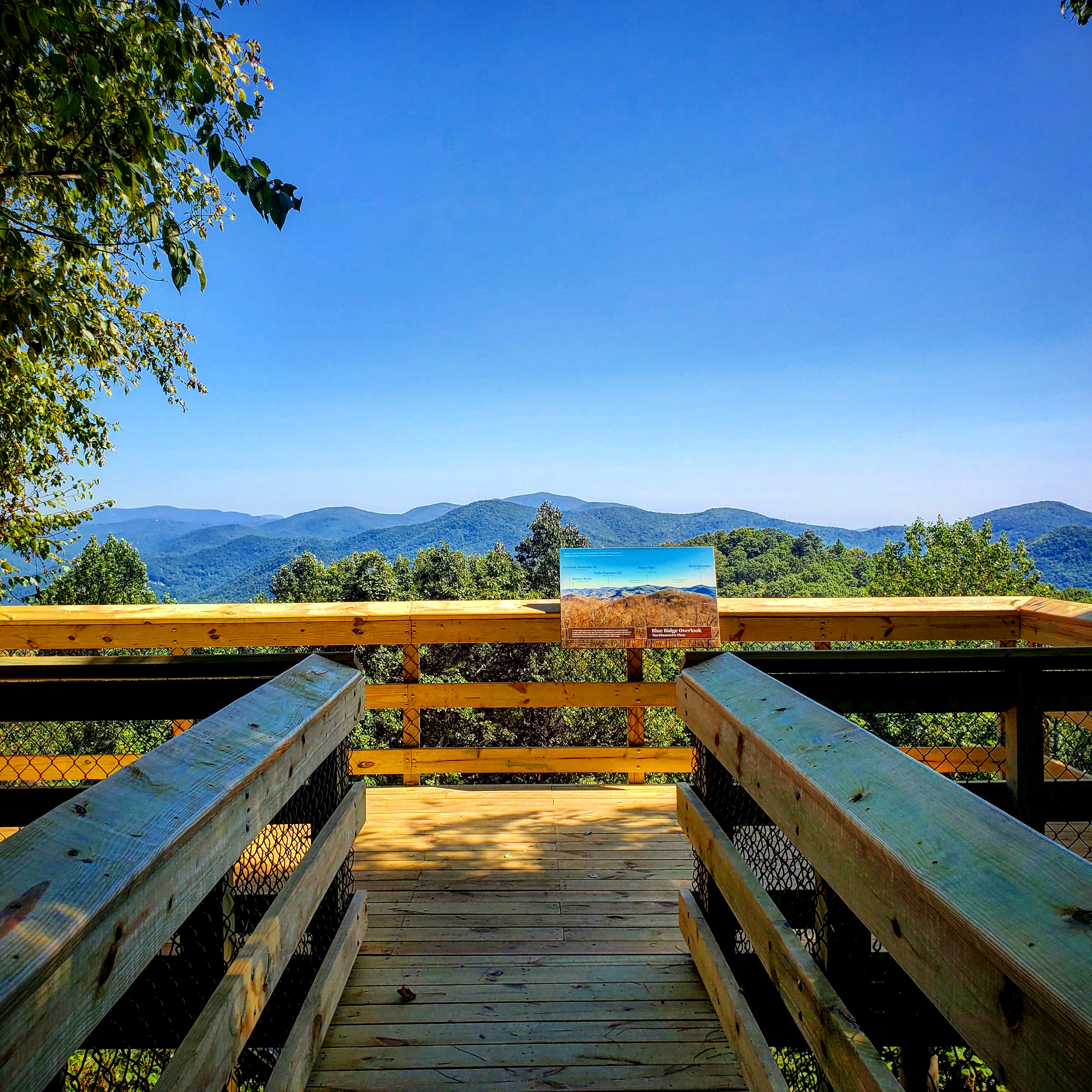 A observation deck at overlooking the Black Rock mountains beyond in the North Georgia mountains
