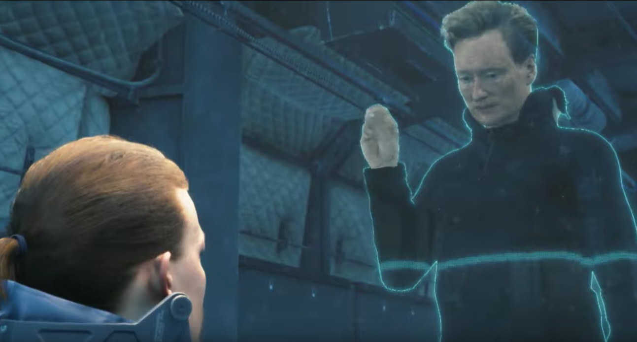 screenshot of Conan O'Brien making a cameo in Death Stranding as a holographic message to the player character