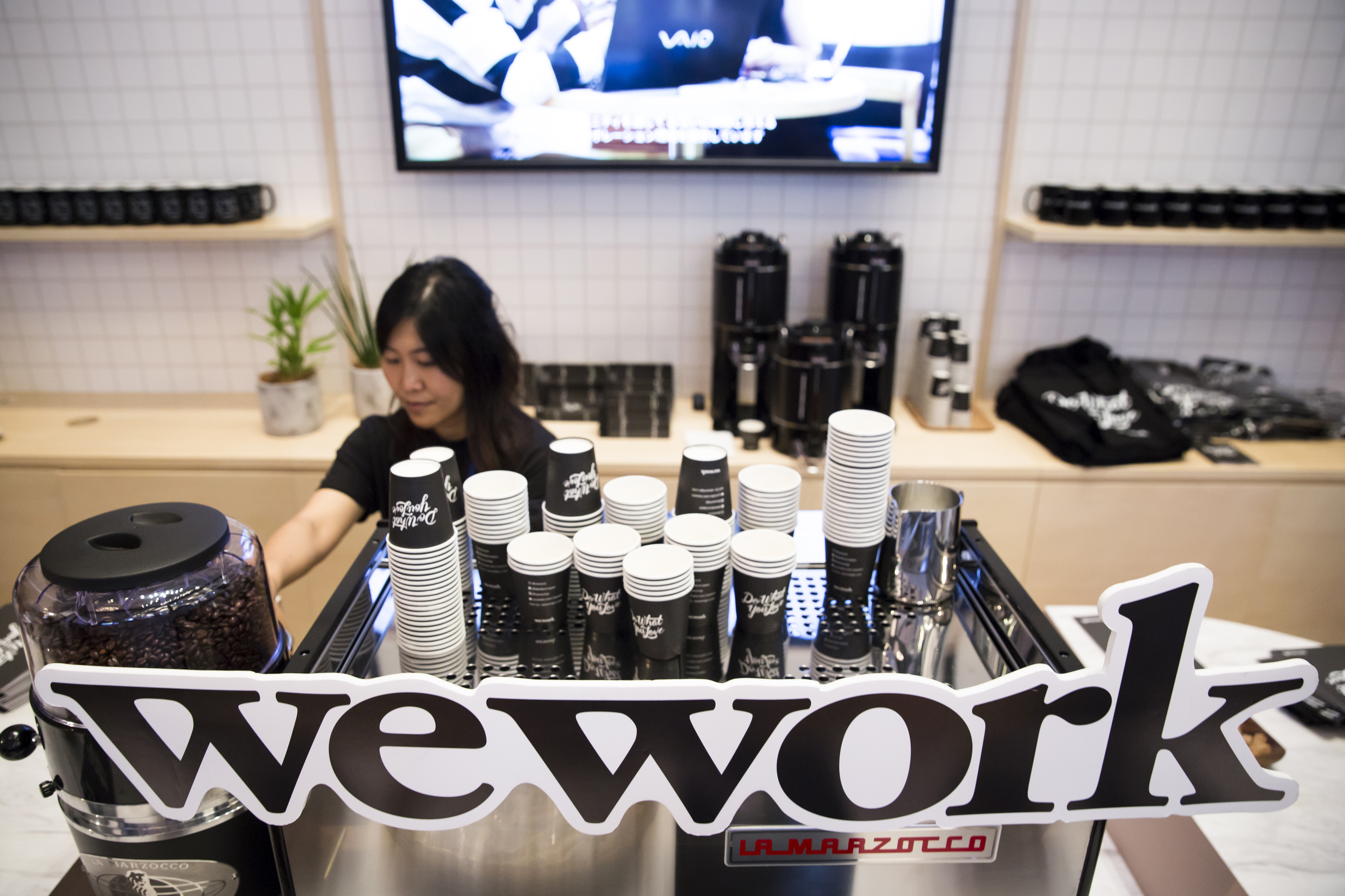 Someone making coffee at a WeWork