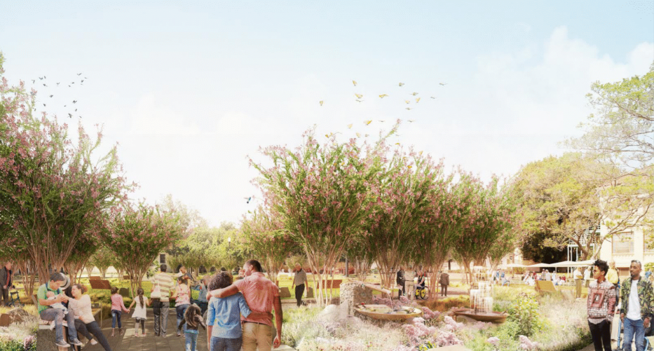 A rendering of a park-like open green space with trees and people walking around.