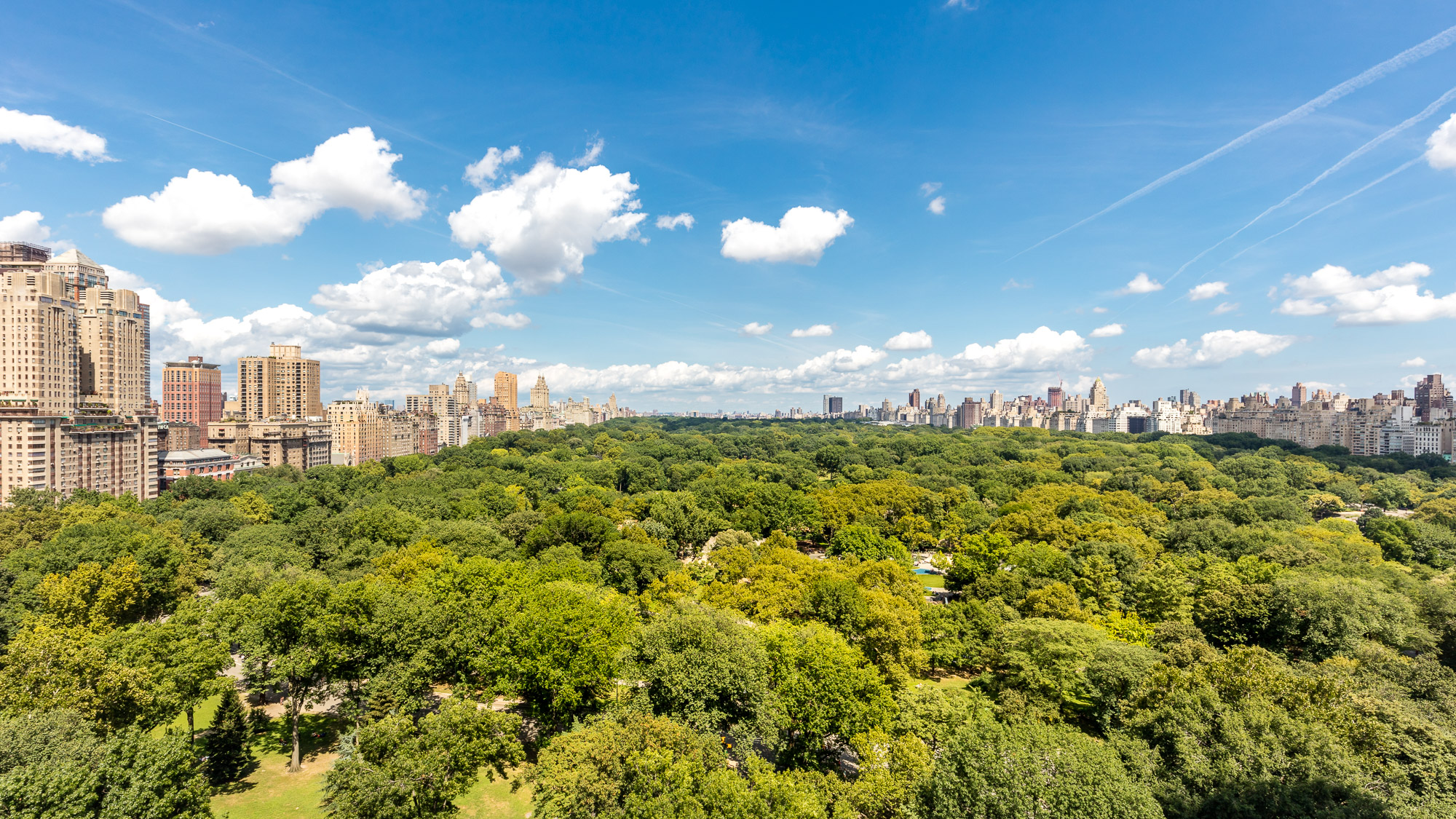 The treetops Central Park looking north on a bright blue sky day. Buildings rise in jagged spurts along the park's west and east boundaries.