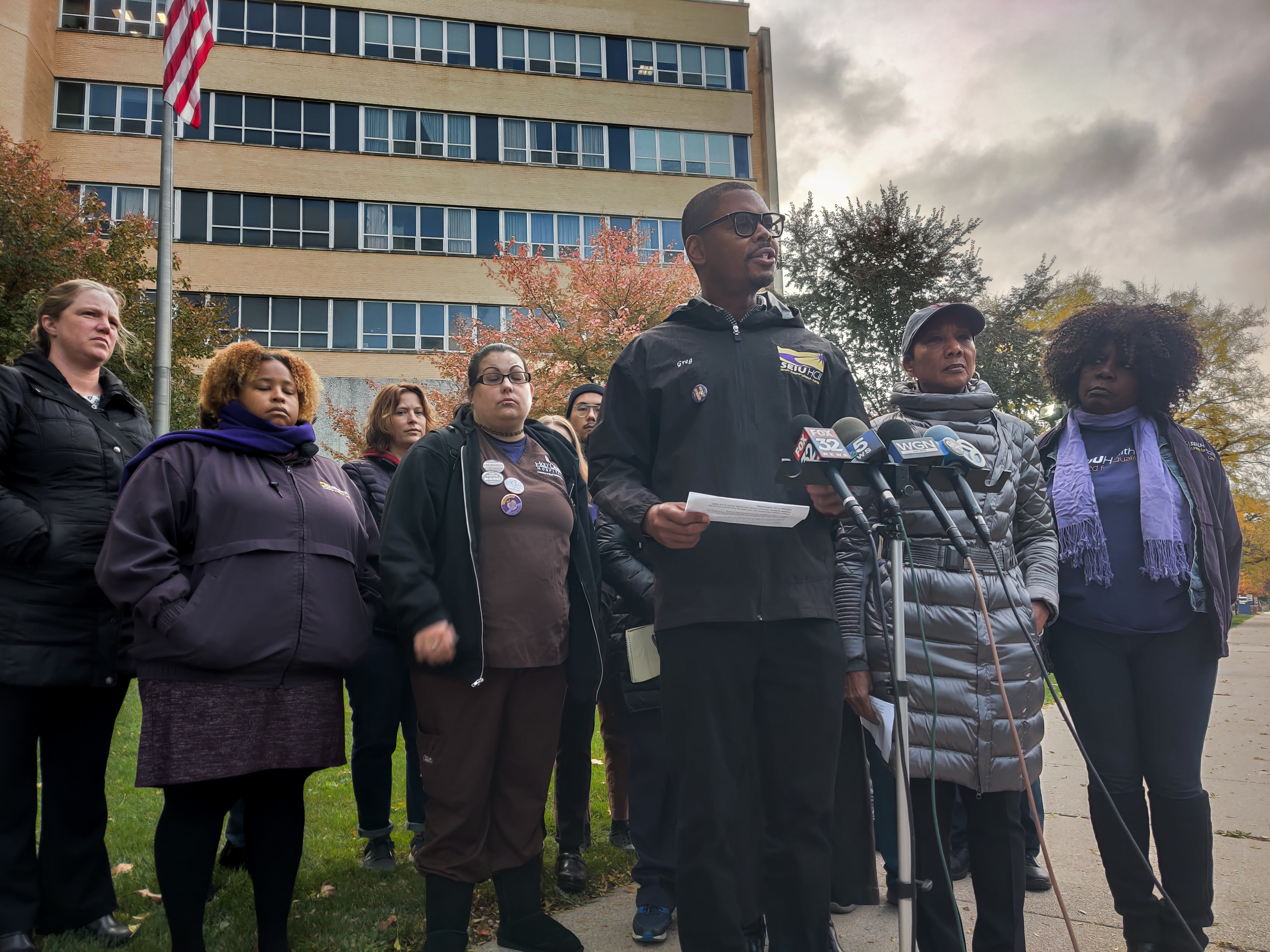 SEIU Healthcare Illinois' Union President Greg Kelley condemns the slashing of services at Holy Cross Hospital, 2701 W. 68th St., on Thursday.