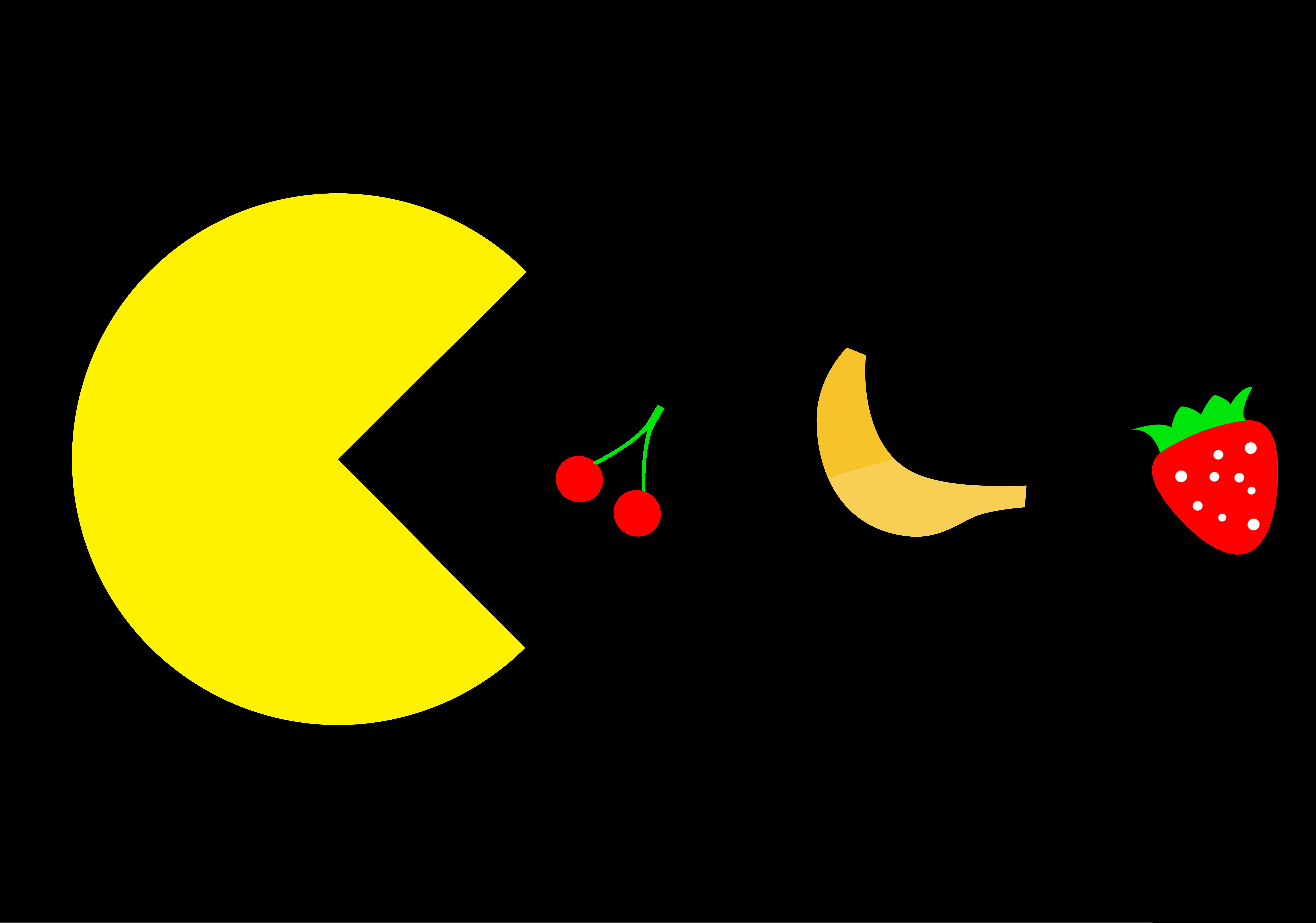 On black background, a yellow Pac-Man disk prepares to eat cherries, a banana, and a strawberry