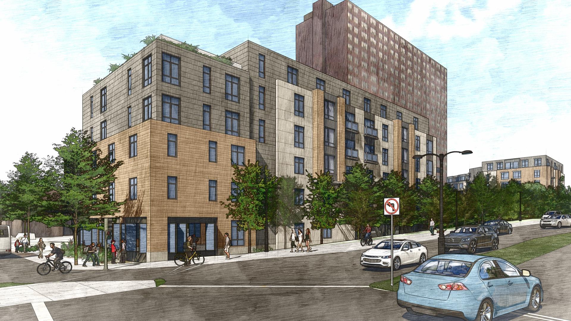Rendering of a pair of multistory apartment buildings.