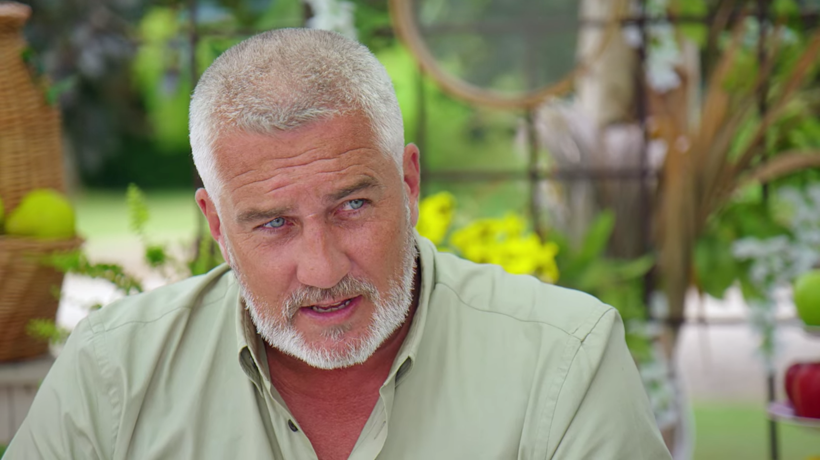 Paul Hollywood making a concerned expression on The Great British Bake-Off.