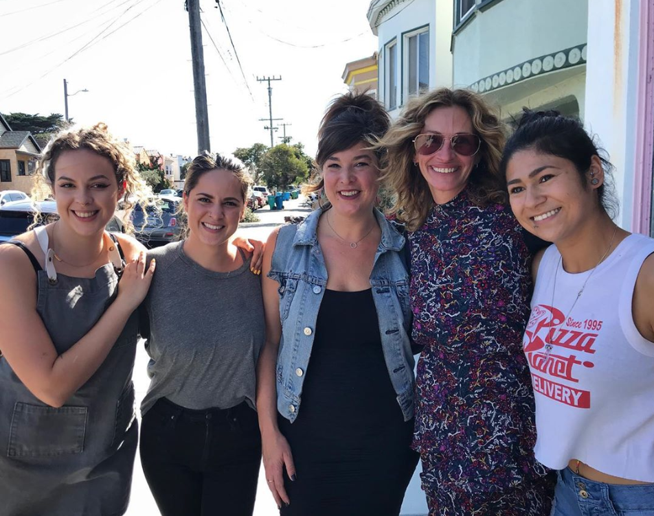 Julia Roberts poses with Outerlands staffers