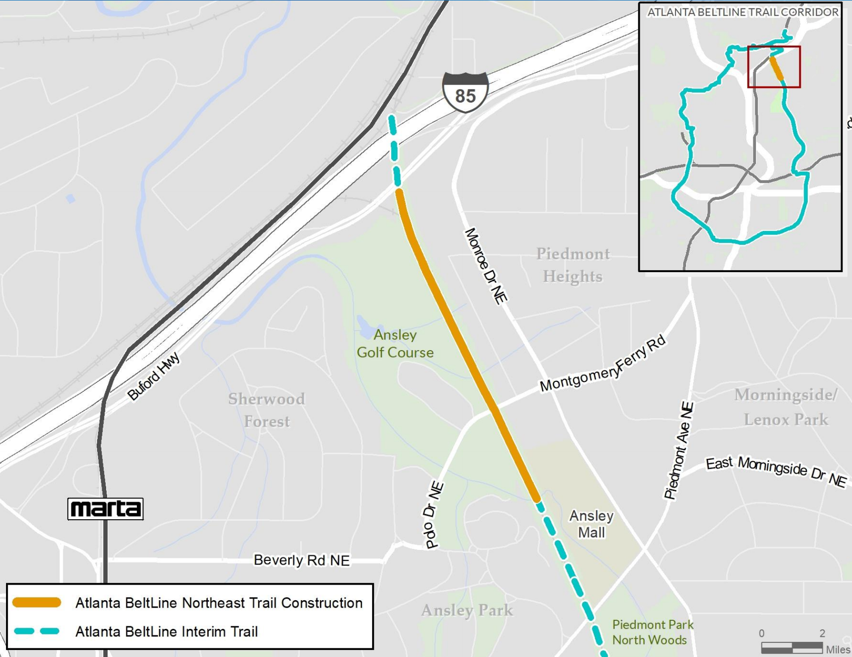 A map shows an orange line where the Northeast Trail will be paved.