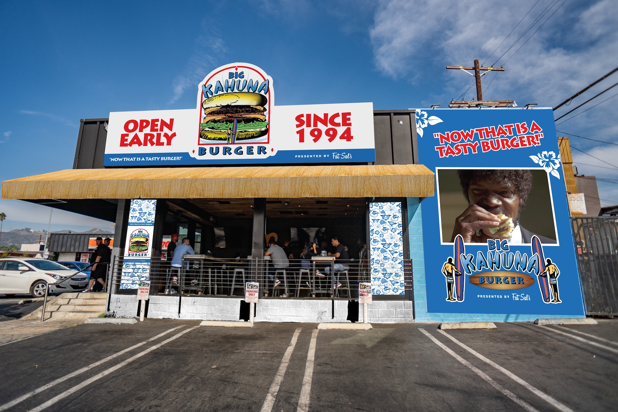 A burger restaurant transformed into Big Kahuna Burger from the movie Pulp Fiction.