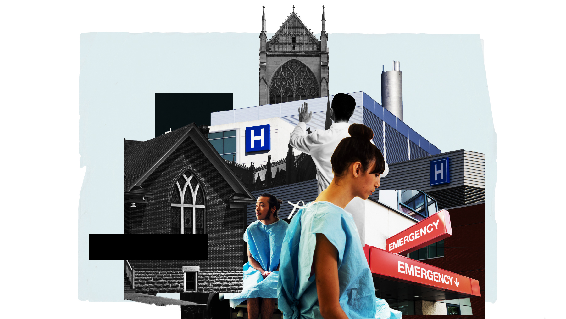 A photo illustration of medical workers, a hospital, and a church.