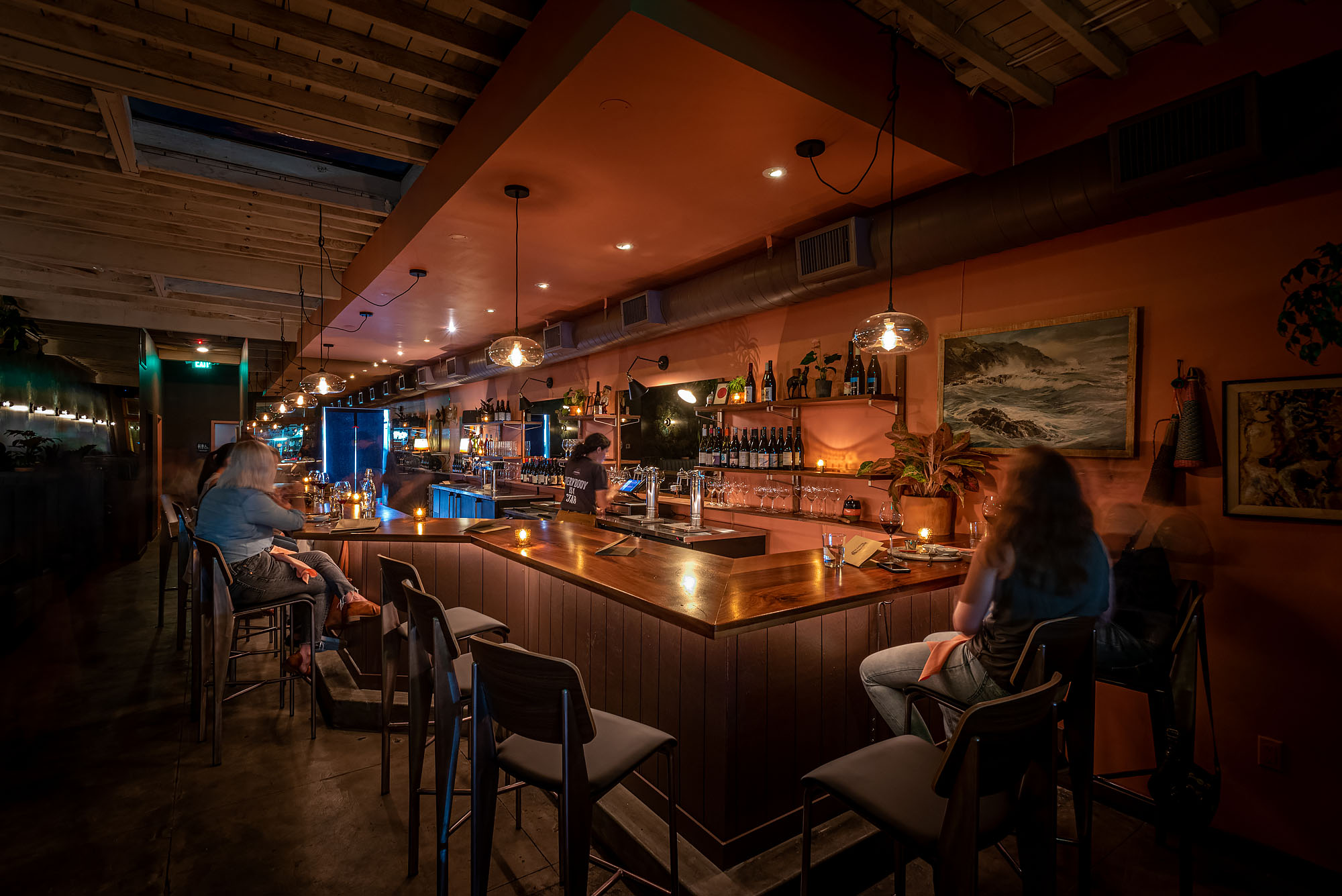 Holcomb wine bar with dim lights in Highland Park, Los Angeles.