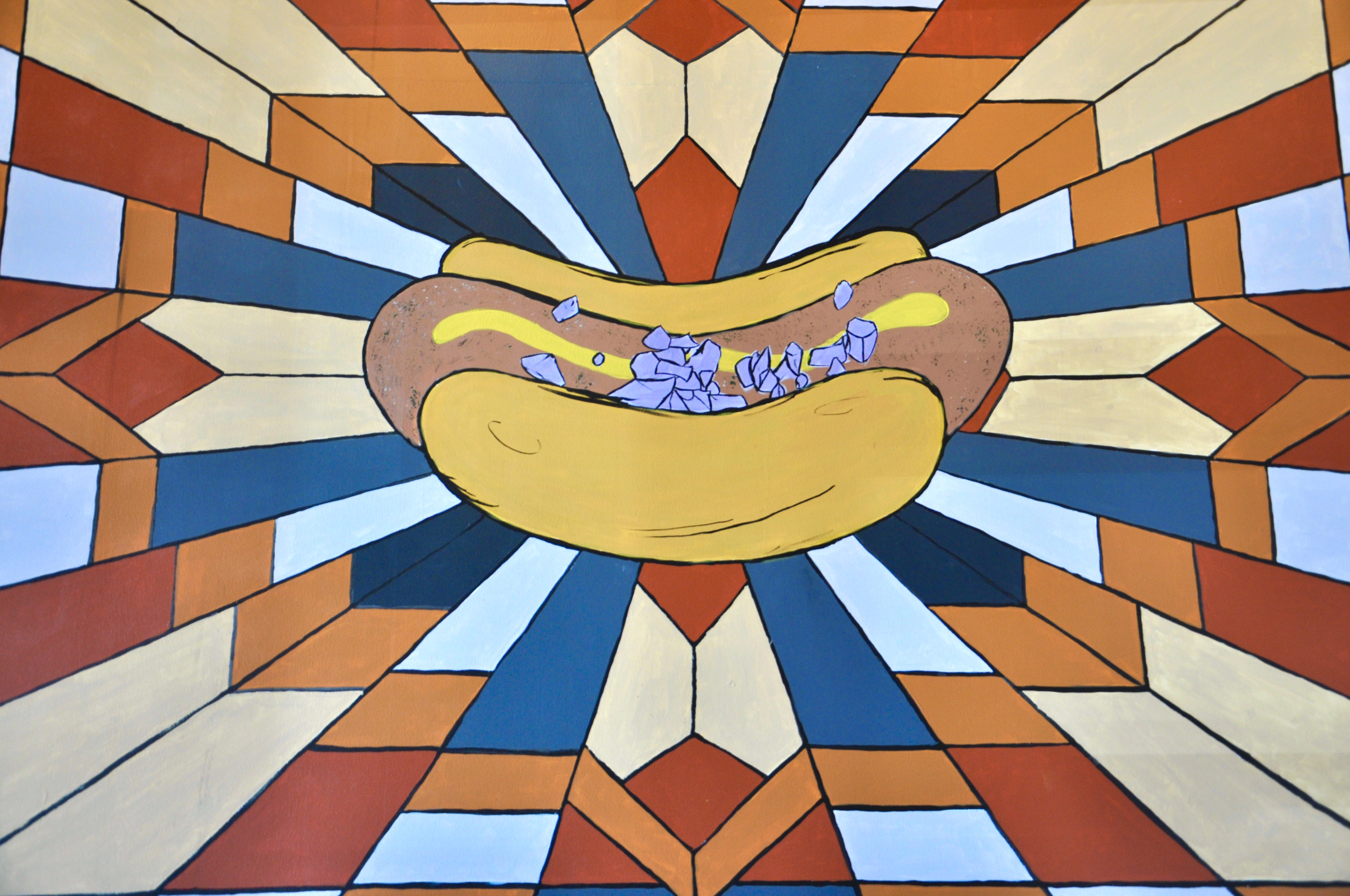 A painting of a hot dog topped with onions and mustard with a fractal-like colorful background