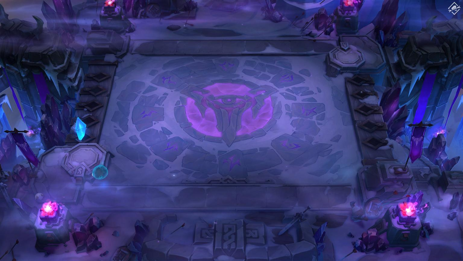 A Teamfight Tactics arena with a purple Frostguard theme