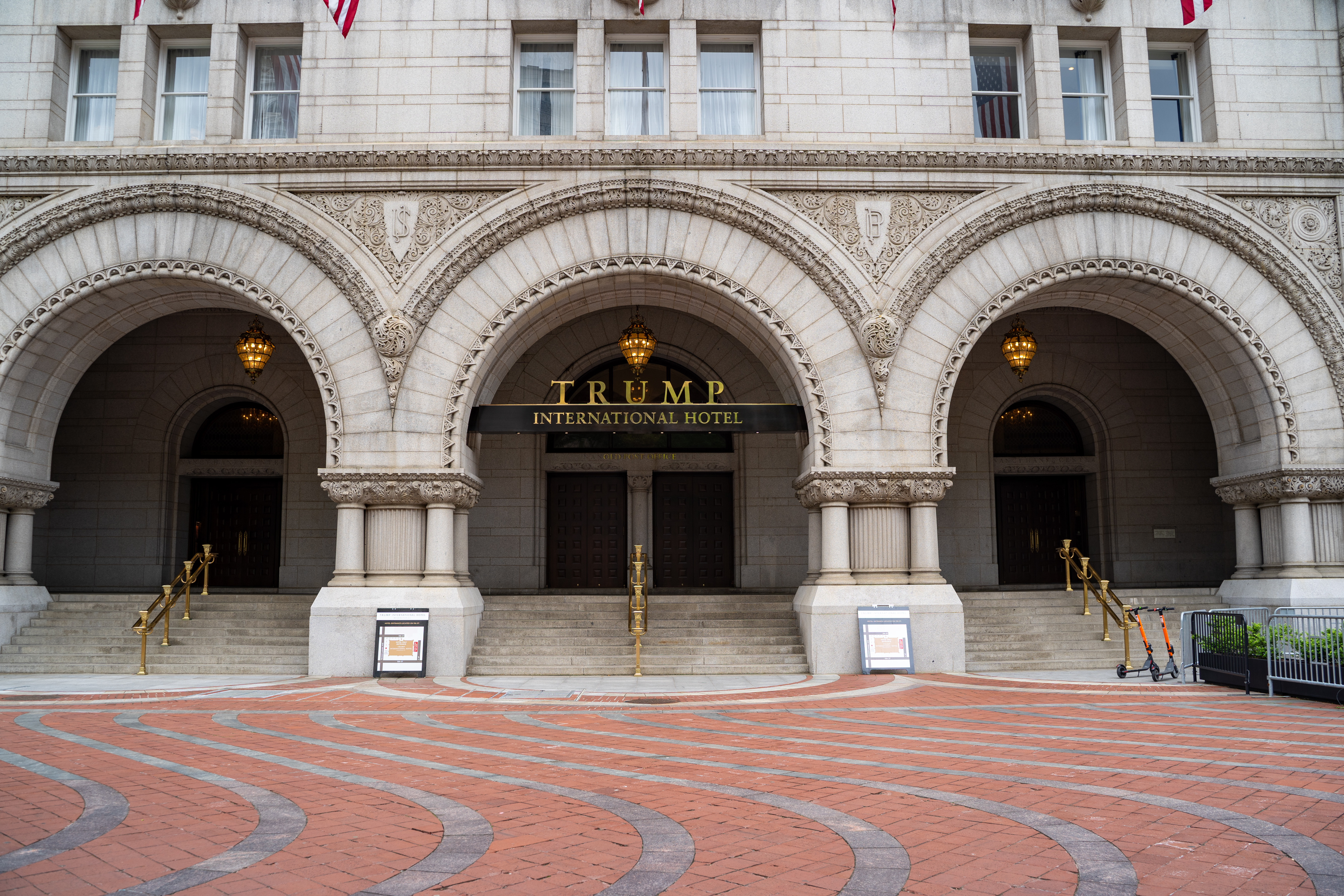 A brick driveway leading to the ornate entrance to a Washington, D.C. hotel