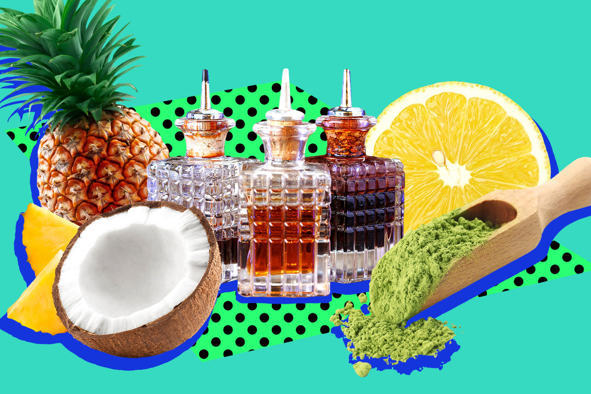 A collage of a pineapple, a coconut, and bottles with liquid inside on a teal background