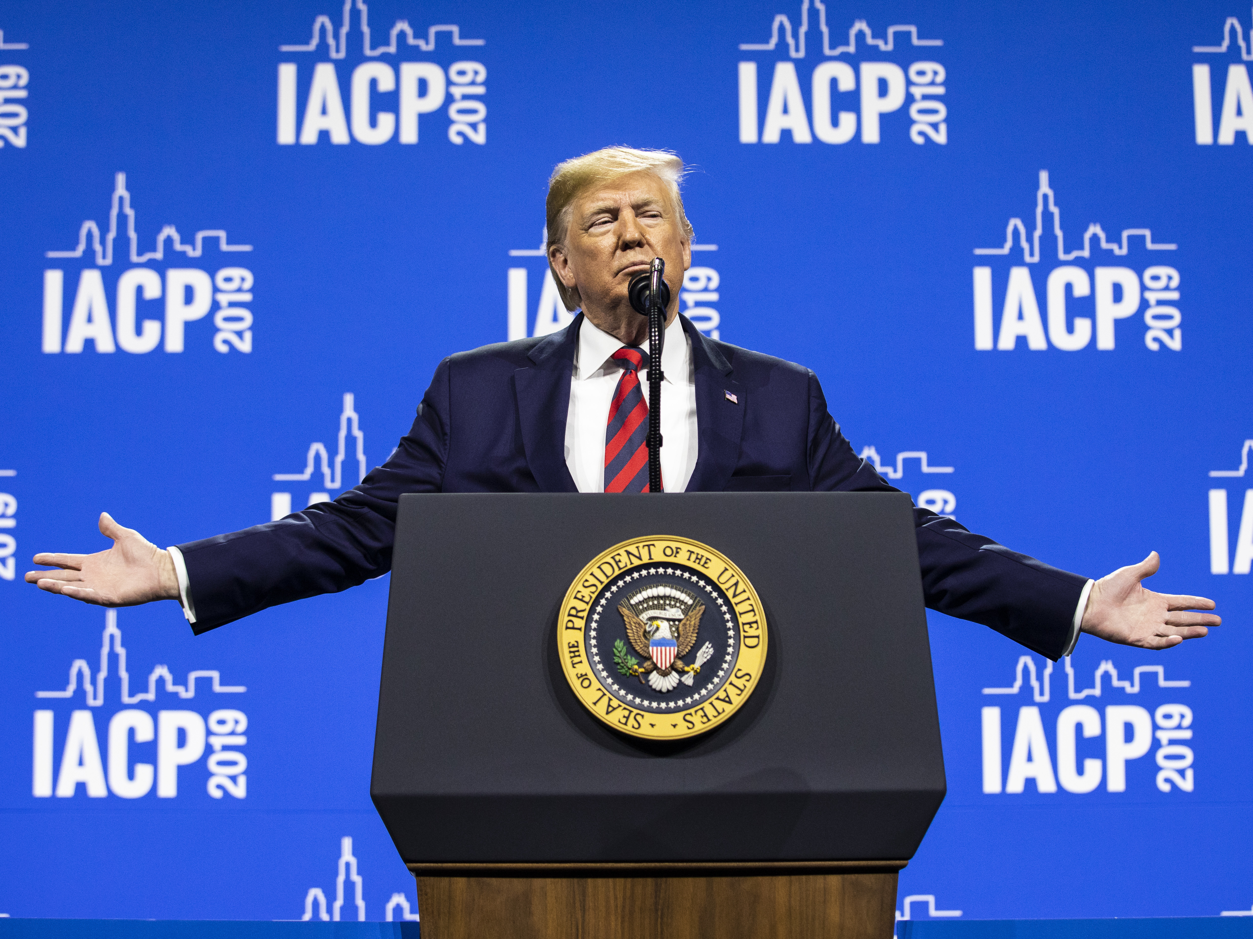 President Donald Trump speaks at the International Association of Chiefs of Police convention at McCormick Place on Monday.