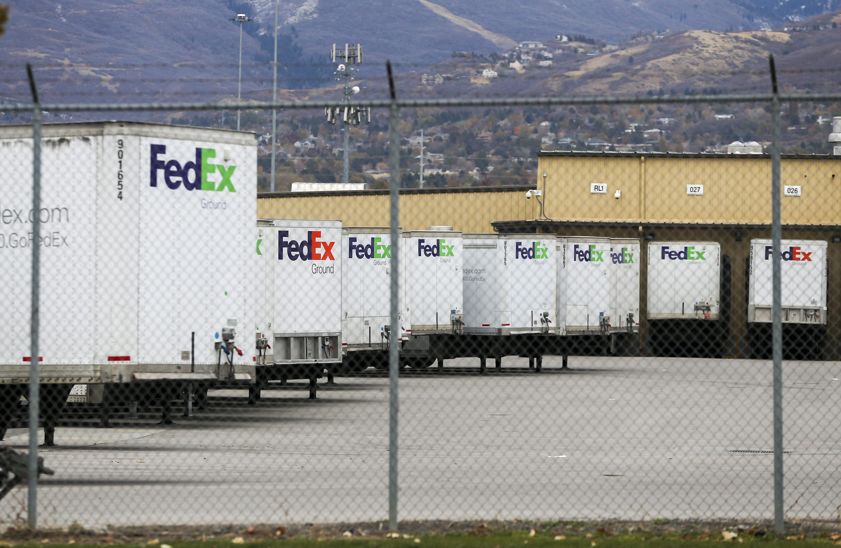 Truck trailers are parked at a FedEx Ground facility in North Salt Lake on Monday, Oct. 28, 2019.