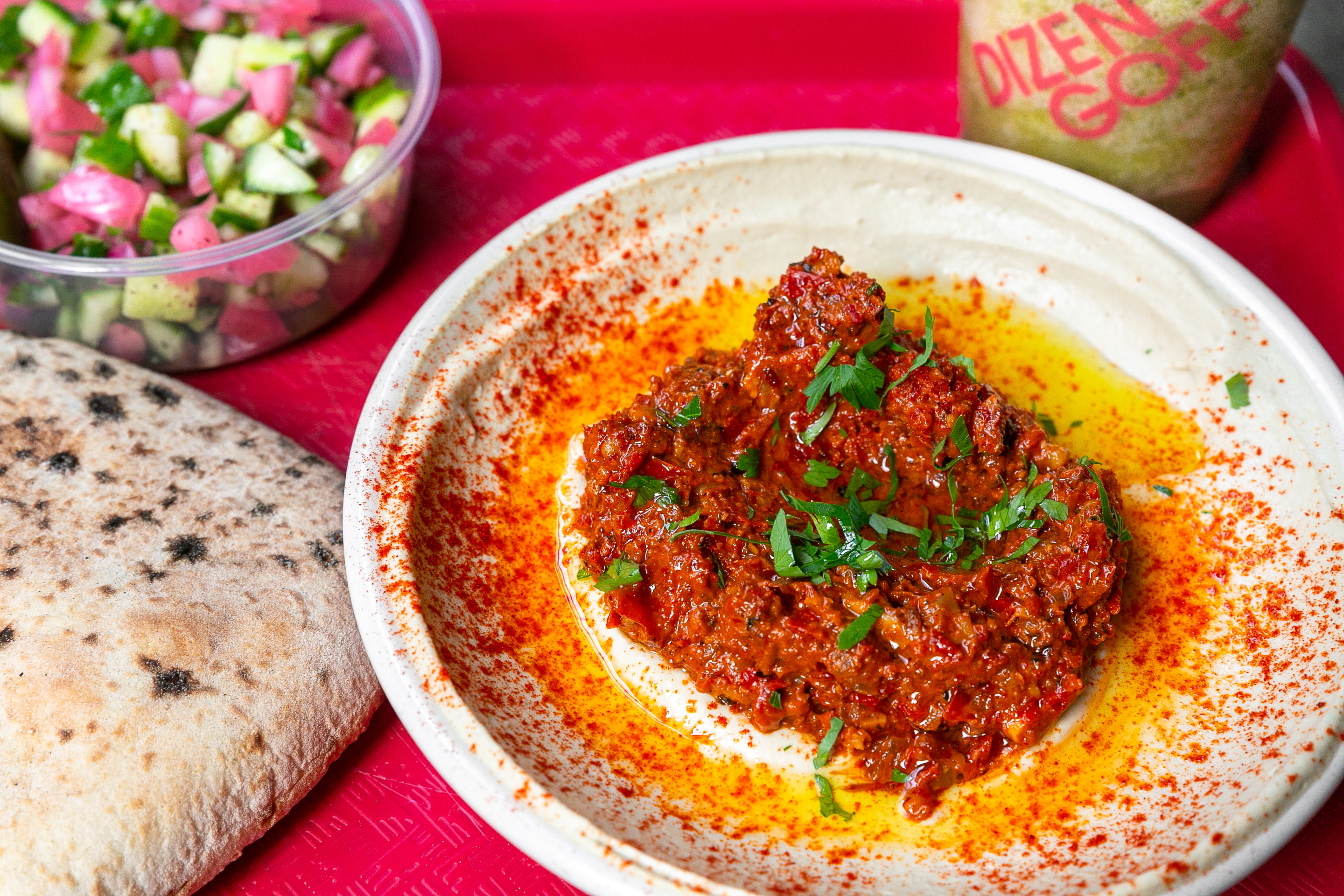 Hummus with roasted red peppers