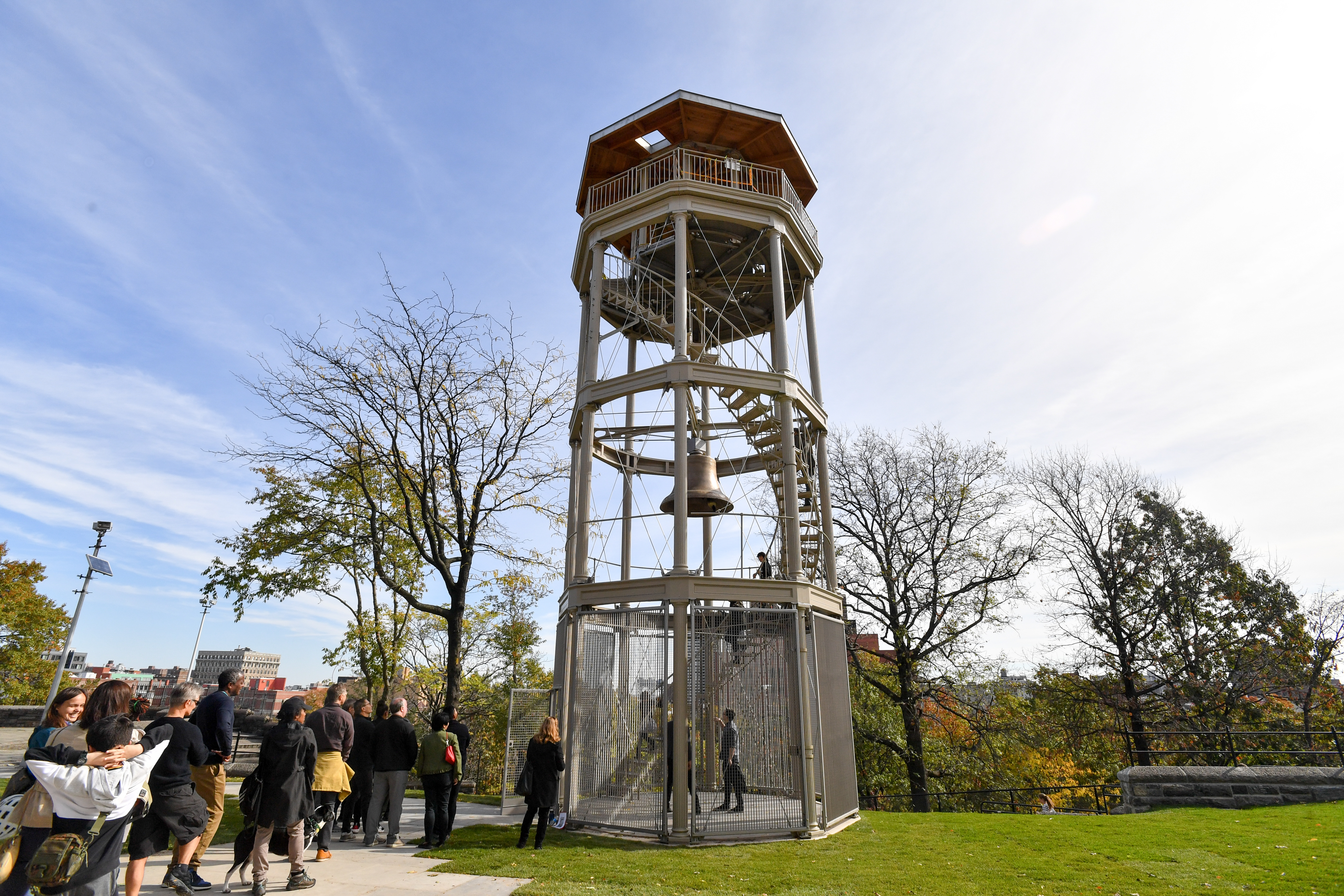 The newly refurbished watchtower in Harlem's Marcus Garvey Park.