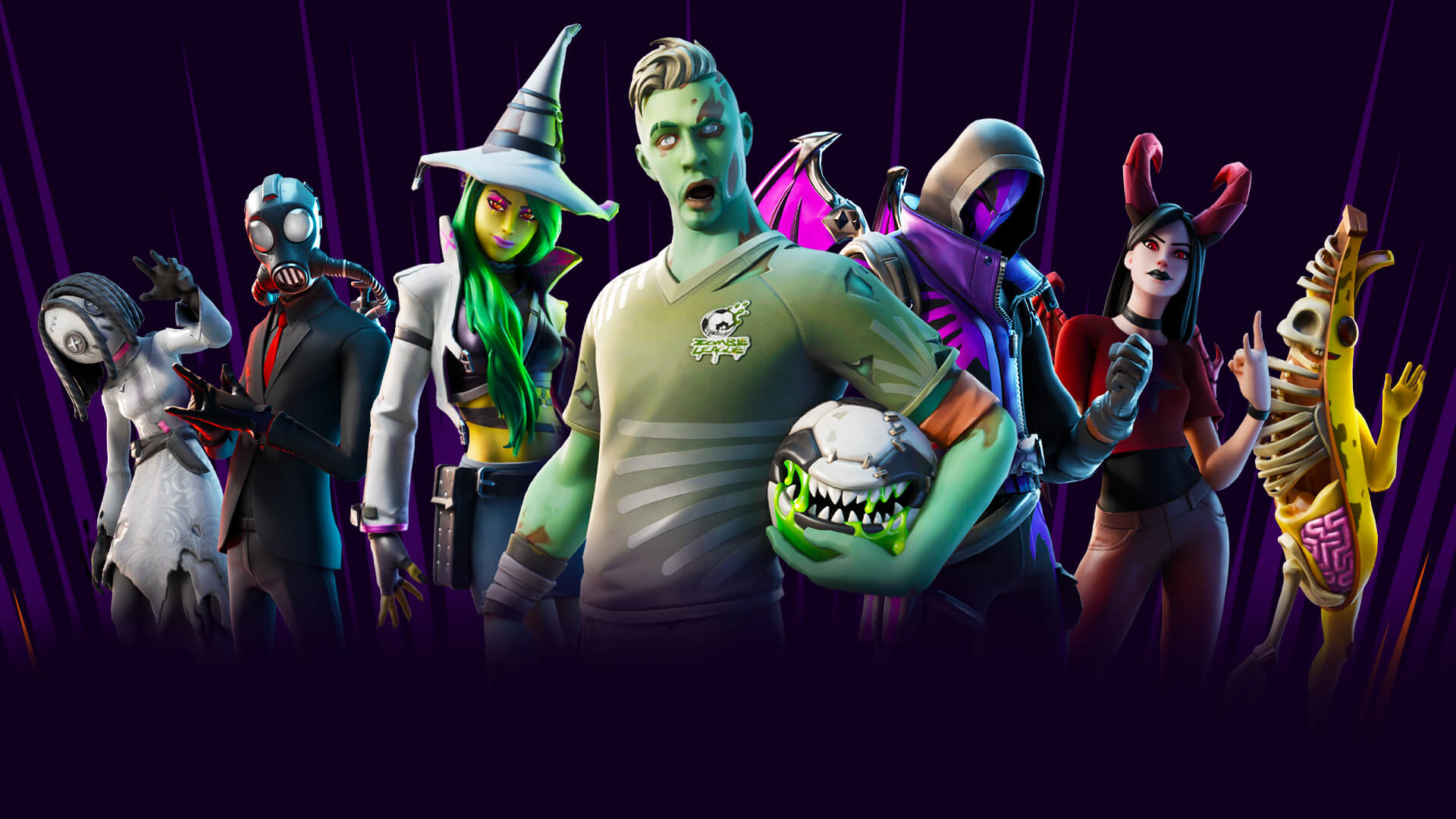 Fortnite's Fortnitemare 2019 skins standing together in a line with an undead soccer player at the center