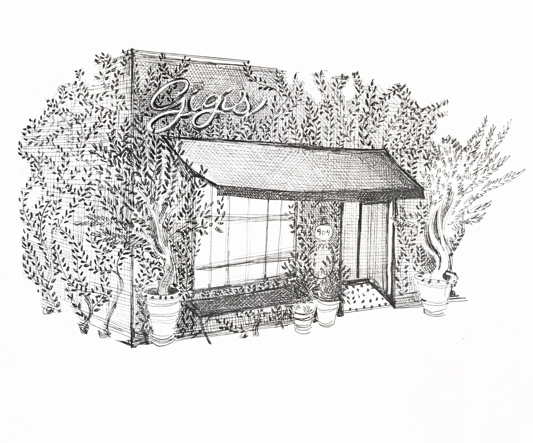 A drawing of a french bistro, with leafy exterior.