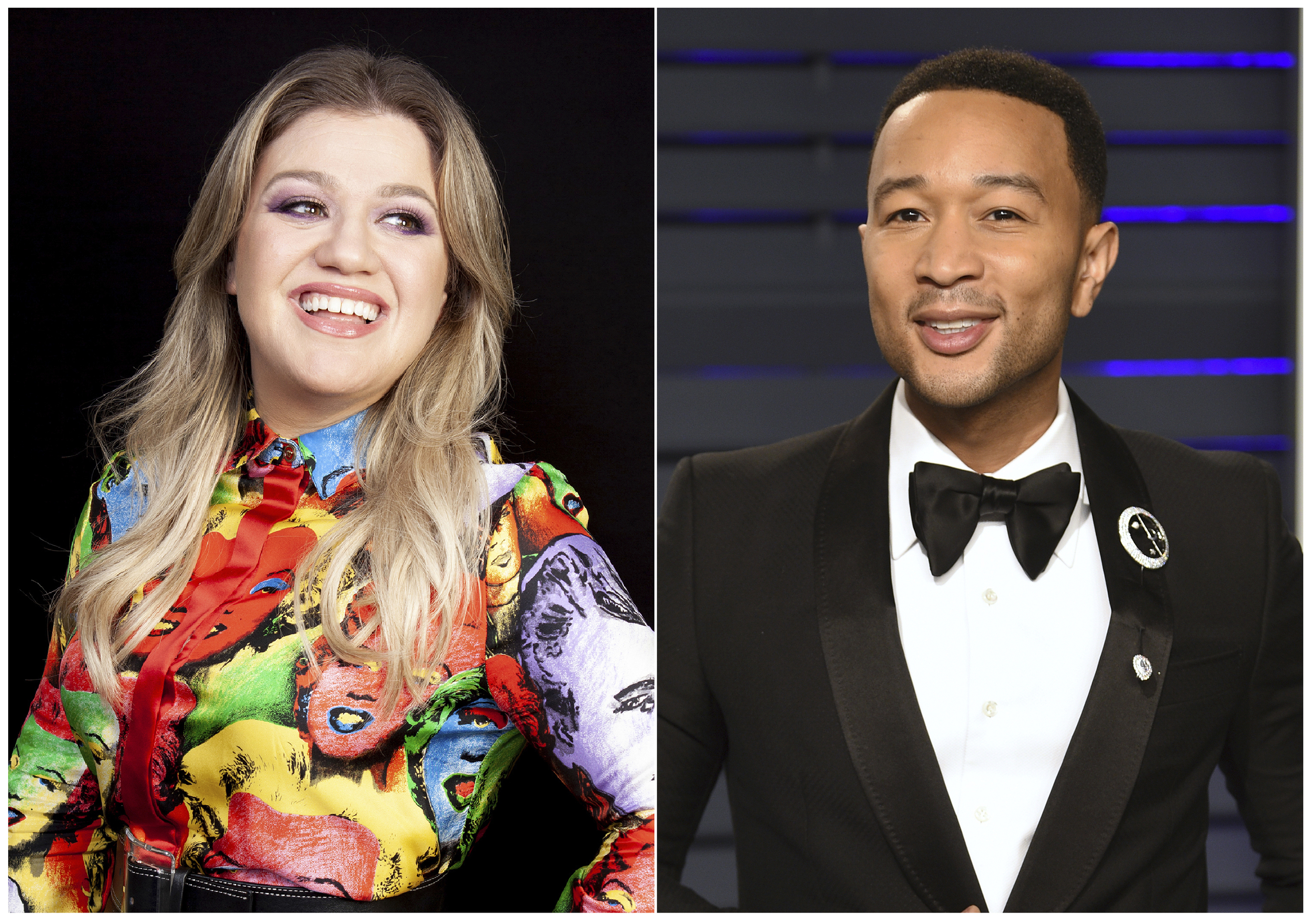 """Kelly Clarkson and John Legend have joined forces on a reimagined version of the oft-criticized Christmas classic """"Baby It's Cold Outside."""" (AP Photo)"""