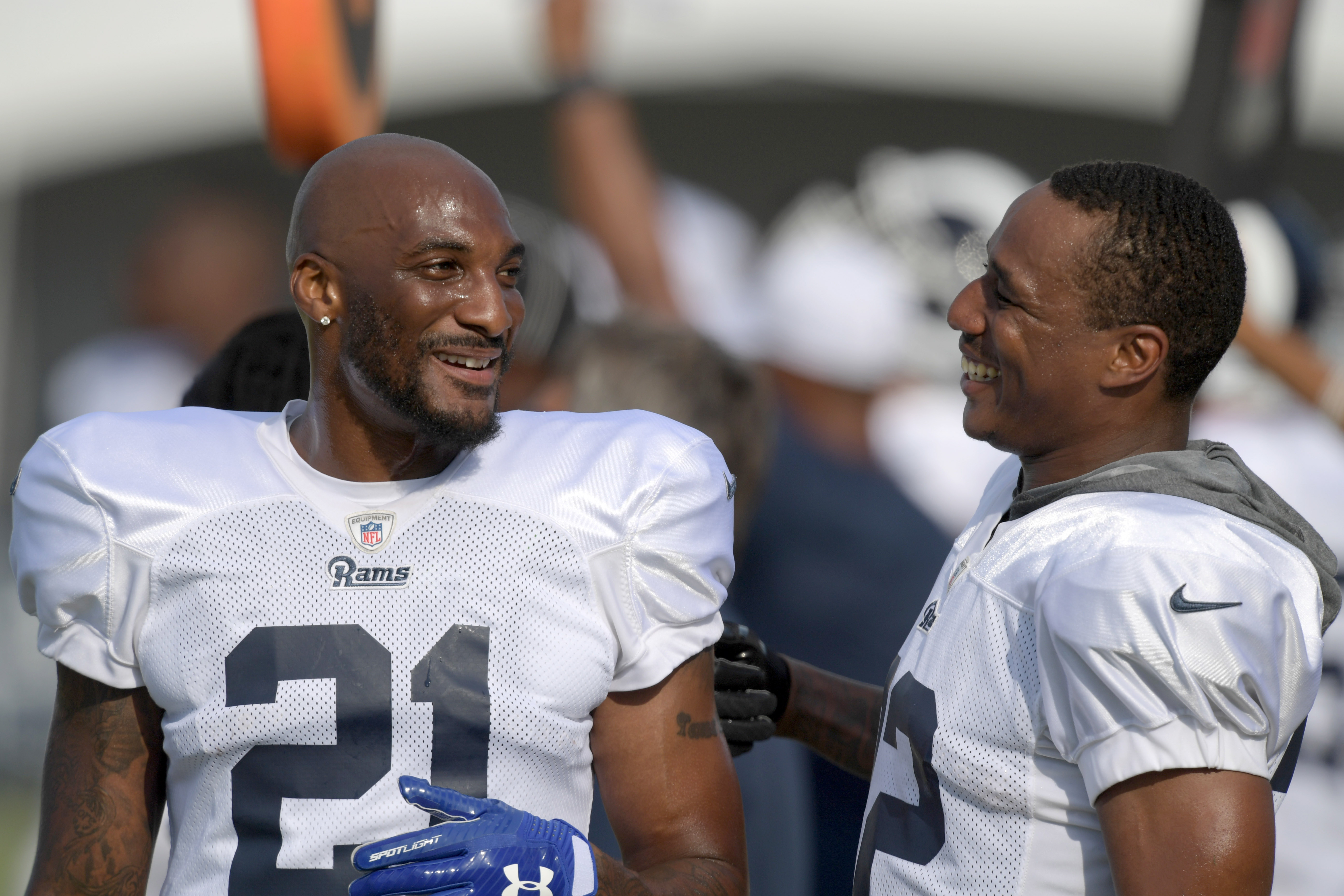 Los Angeles Rams CB Aqib Talib and CB Marcus Peters share a laugh at training camp at UC Irvine, Jul. 30, 2019.