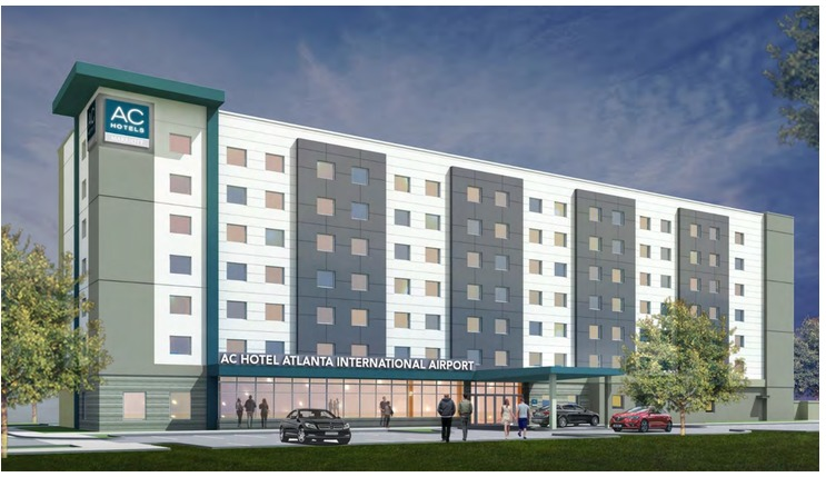 A rendering shows a very generic looking seven-story hotel painted grey and white.