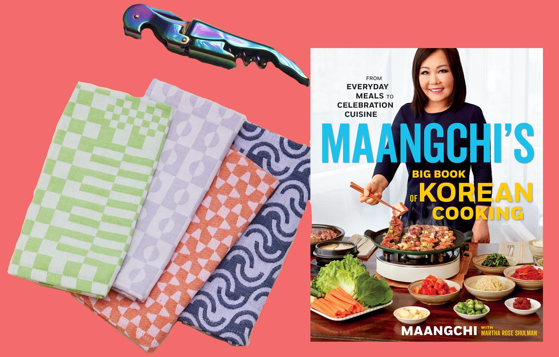 Dusen Dusen napkins, a metallic colorful wine corkscrew, and Maangchi's Big Book of Korean Cooking book