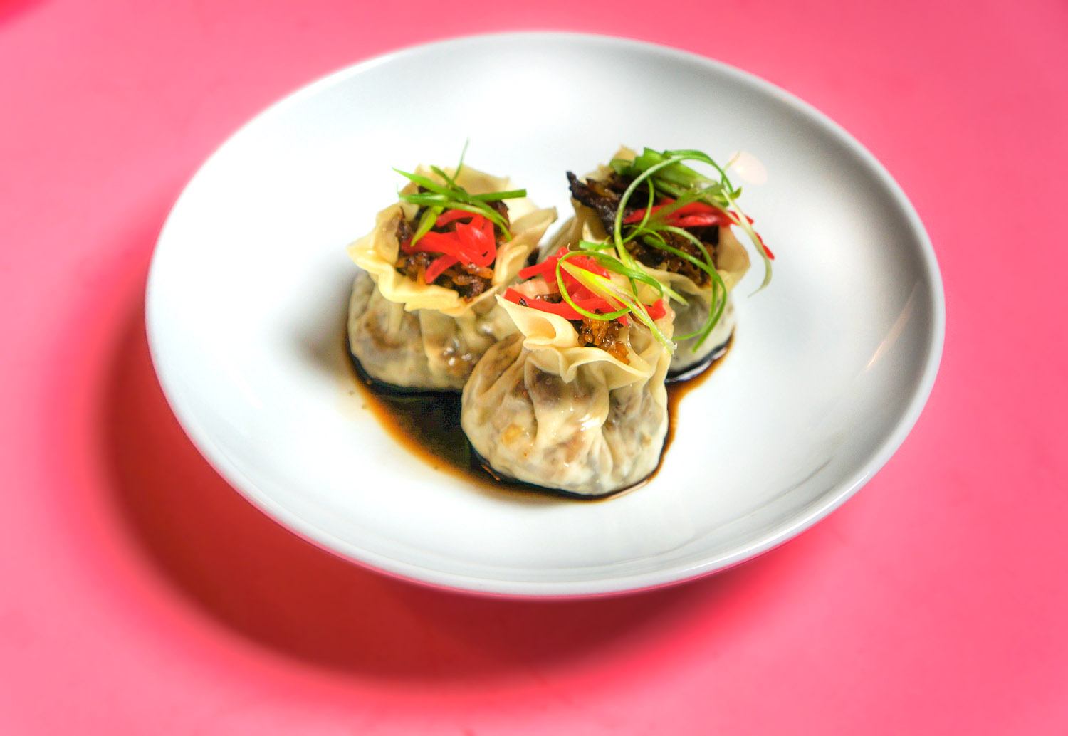 Shumai on a white plate with vegetables on top
