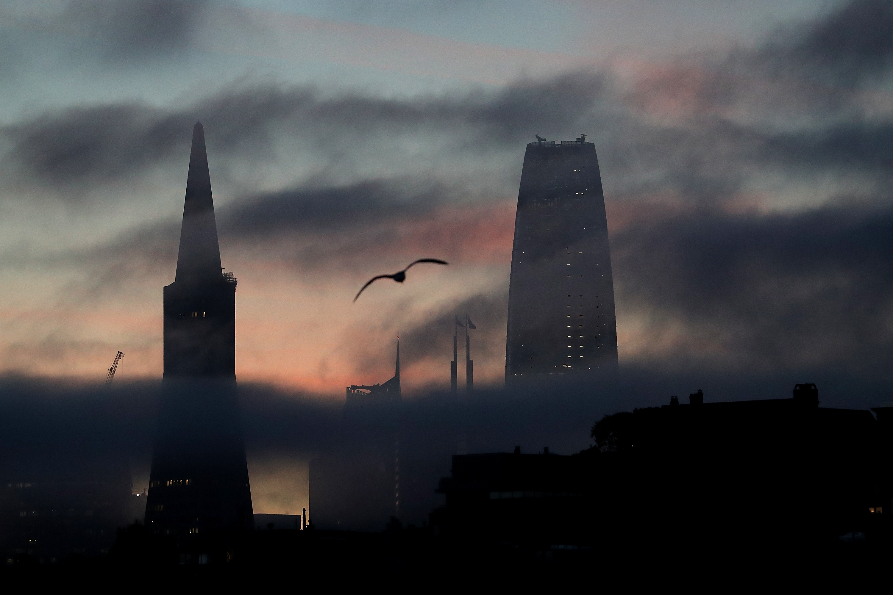 San Francisco Skyline through very dark fog, with the tops of Salesforce Tower and the Transamerica Pyramid visible.