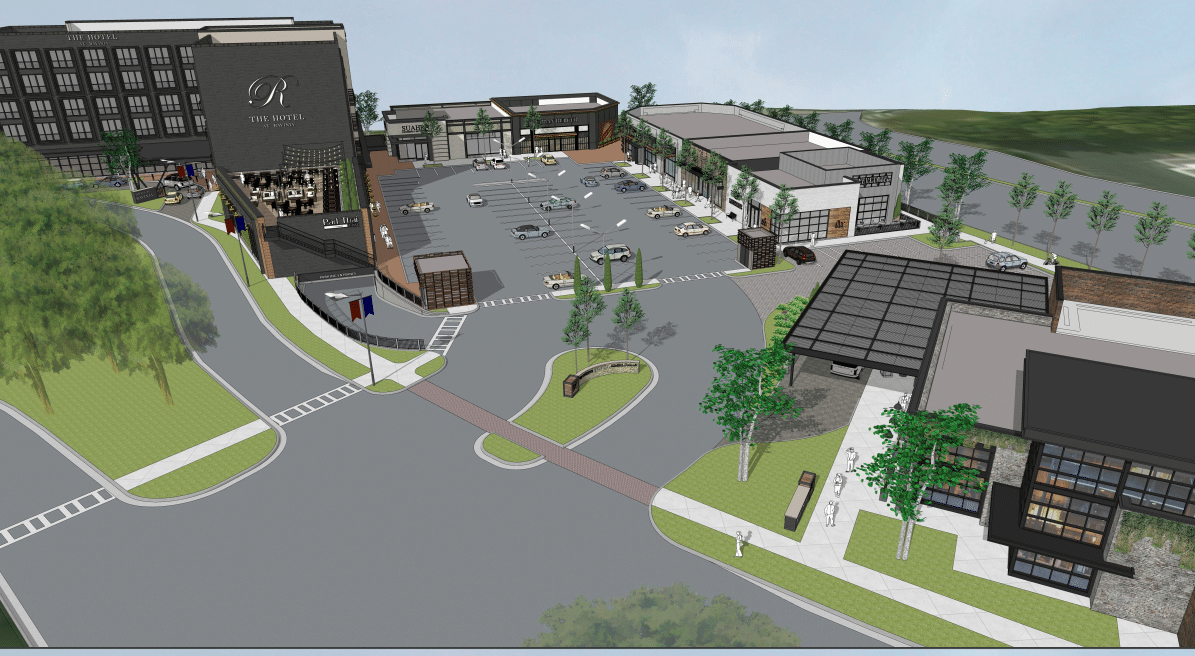 A rendering of the mixed-use development shows a five-story hotel surrounded by restaurants, retail, and a lot of parking.